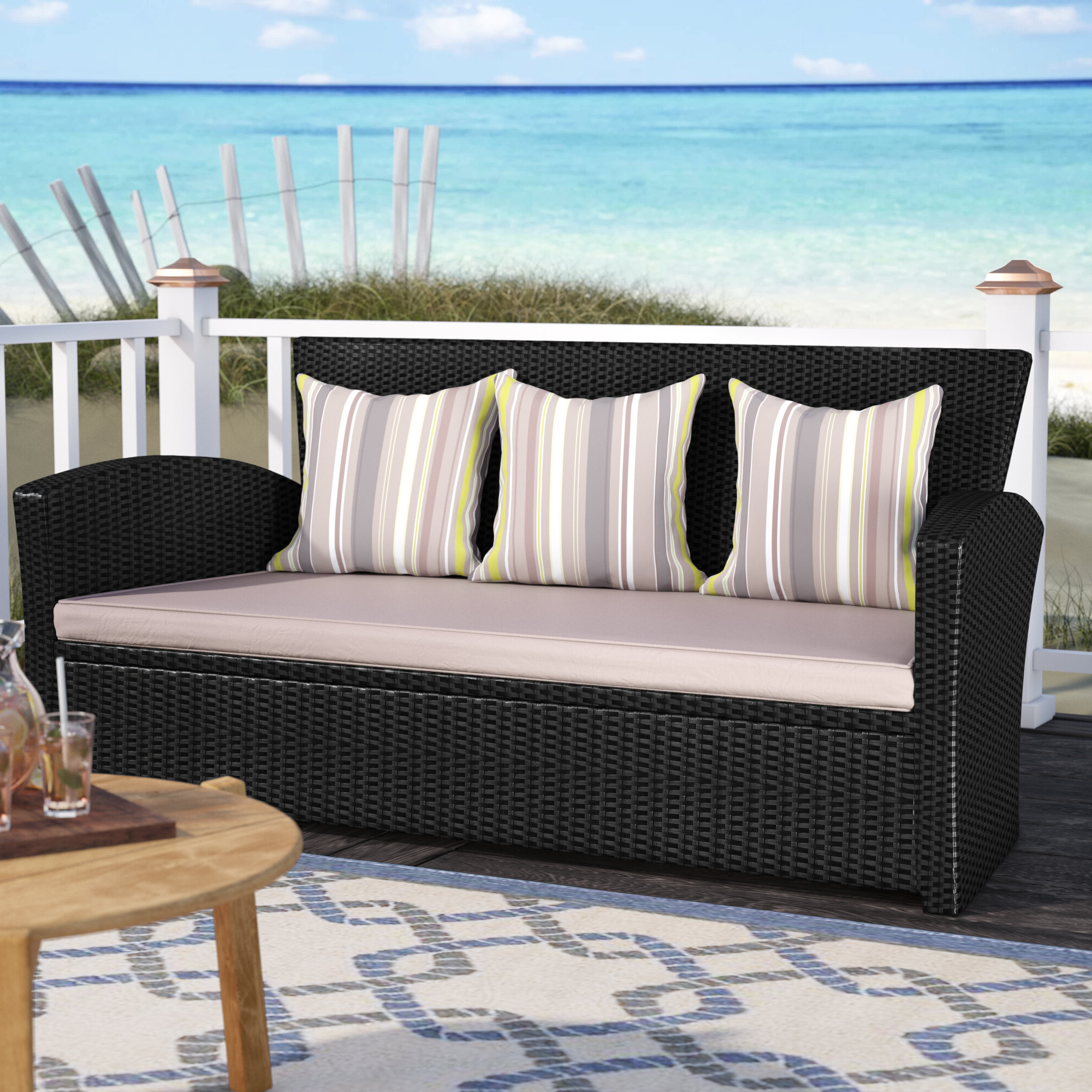Valetta Patio Sofa With Cushions Throughout Most Recently Released Loggins Patio Sofas With Cushions (View 9 of 20)