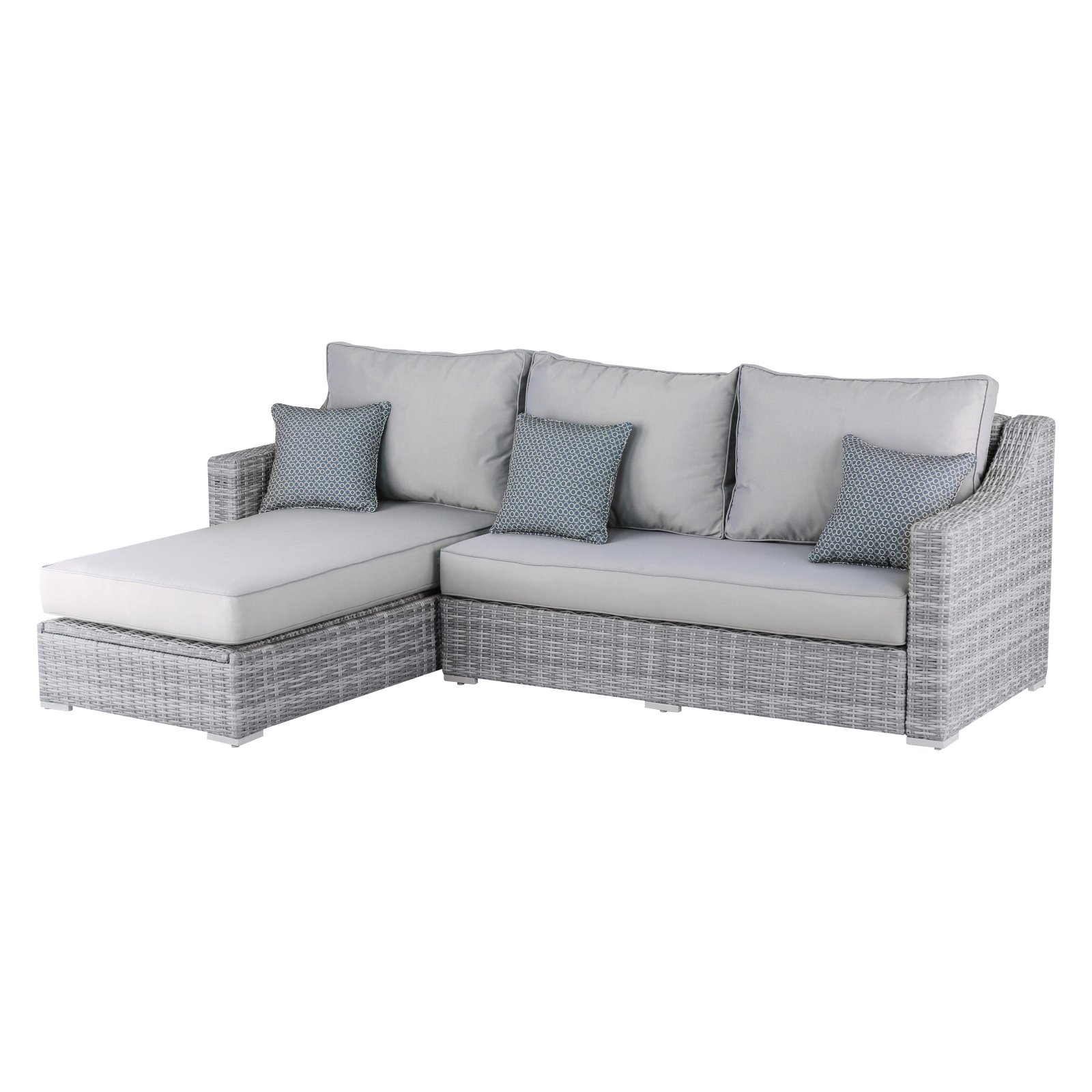 Vallauris Sofa With Cushions Intended For Well Liked Outdoor Elle Decor Vallauris Wicker Patio Storage Sectional Sofa (Gallery 3 of 20)