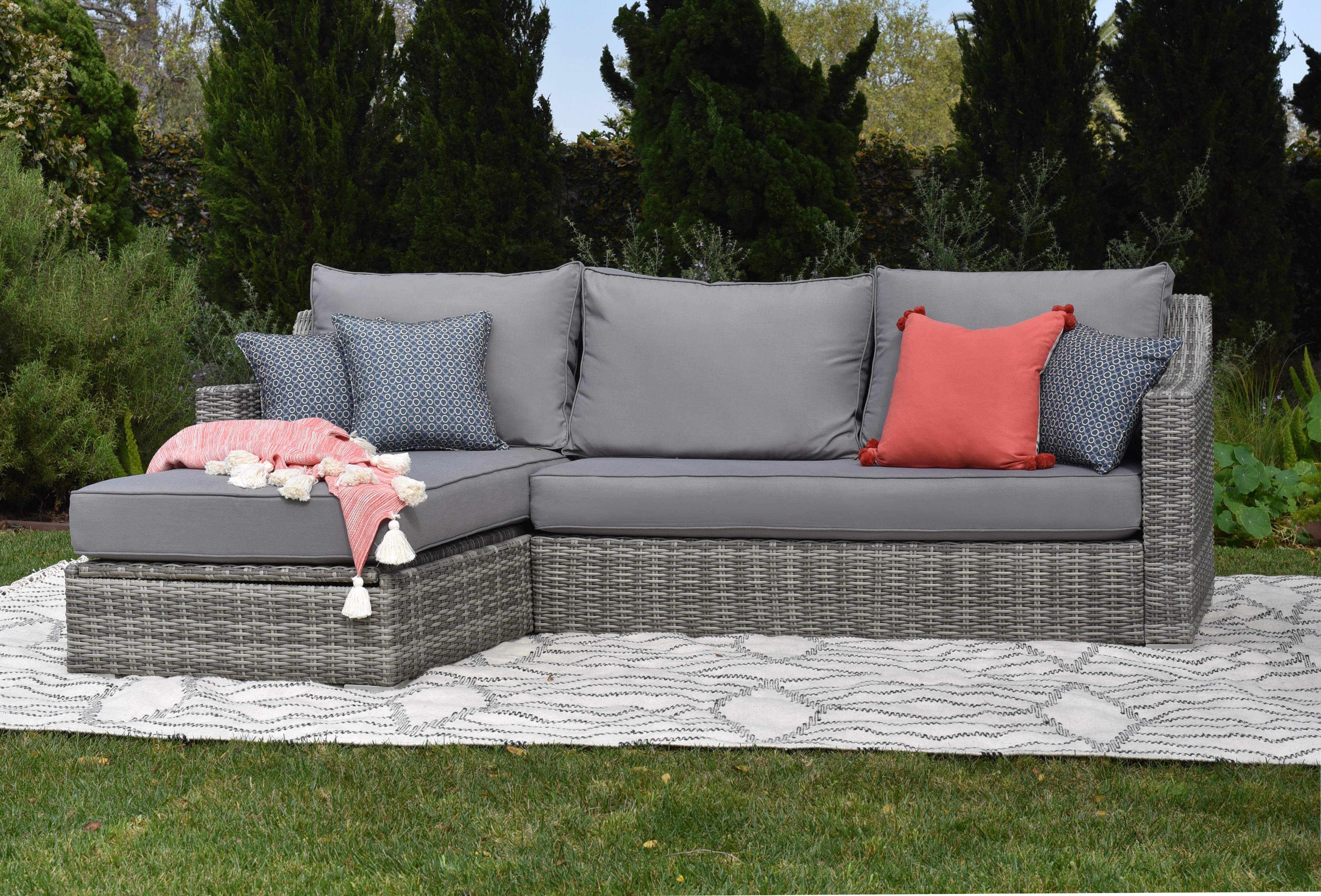 Vallauris Sofa With Cushions Intended For Well Liked Vallauris Storage Patio Sectional With Cushions (Gallery 2 of 20)