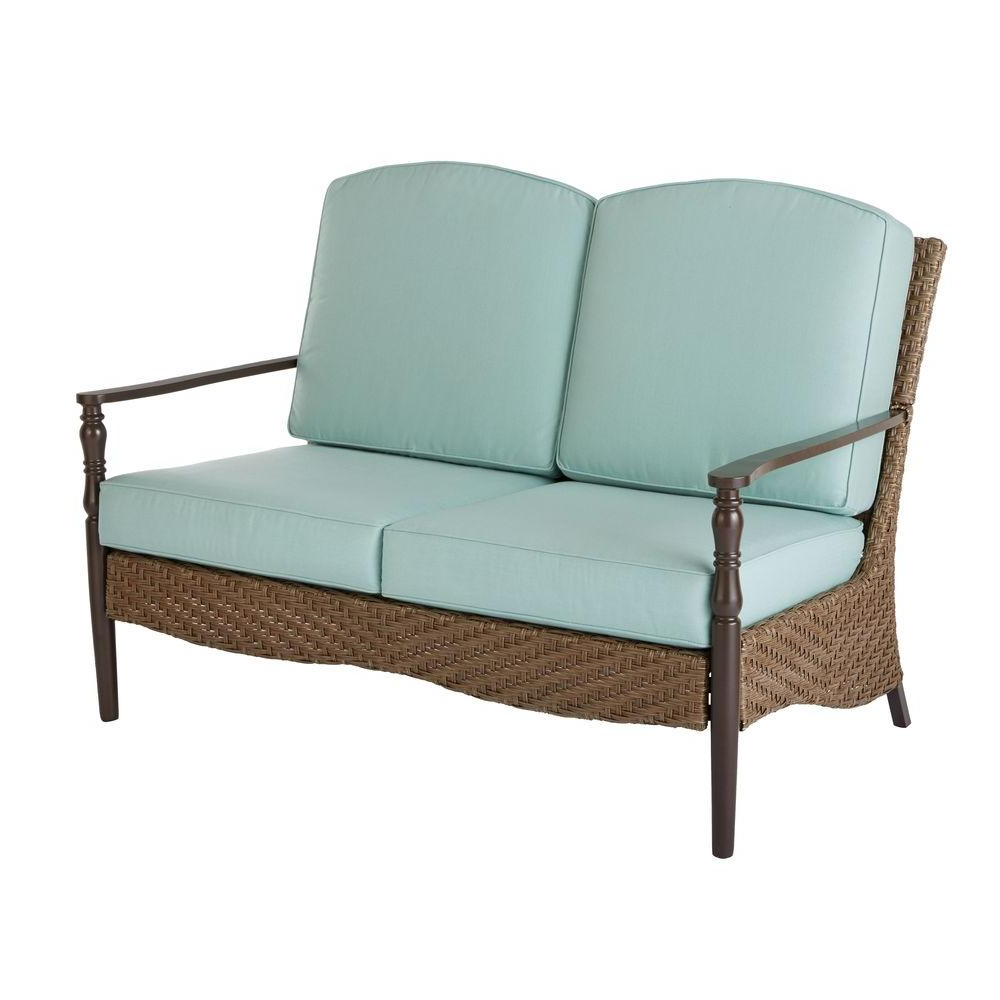 Vardin Loveseats With Cushions Pertaining To Widely Used Bolingbrook Wicker Outdoor Patio Loveseat With Sunbrella Spectrum Mist  Cushions (Gallery 15 of 20)