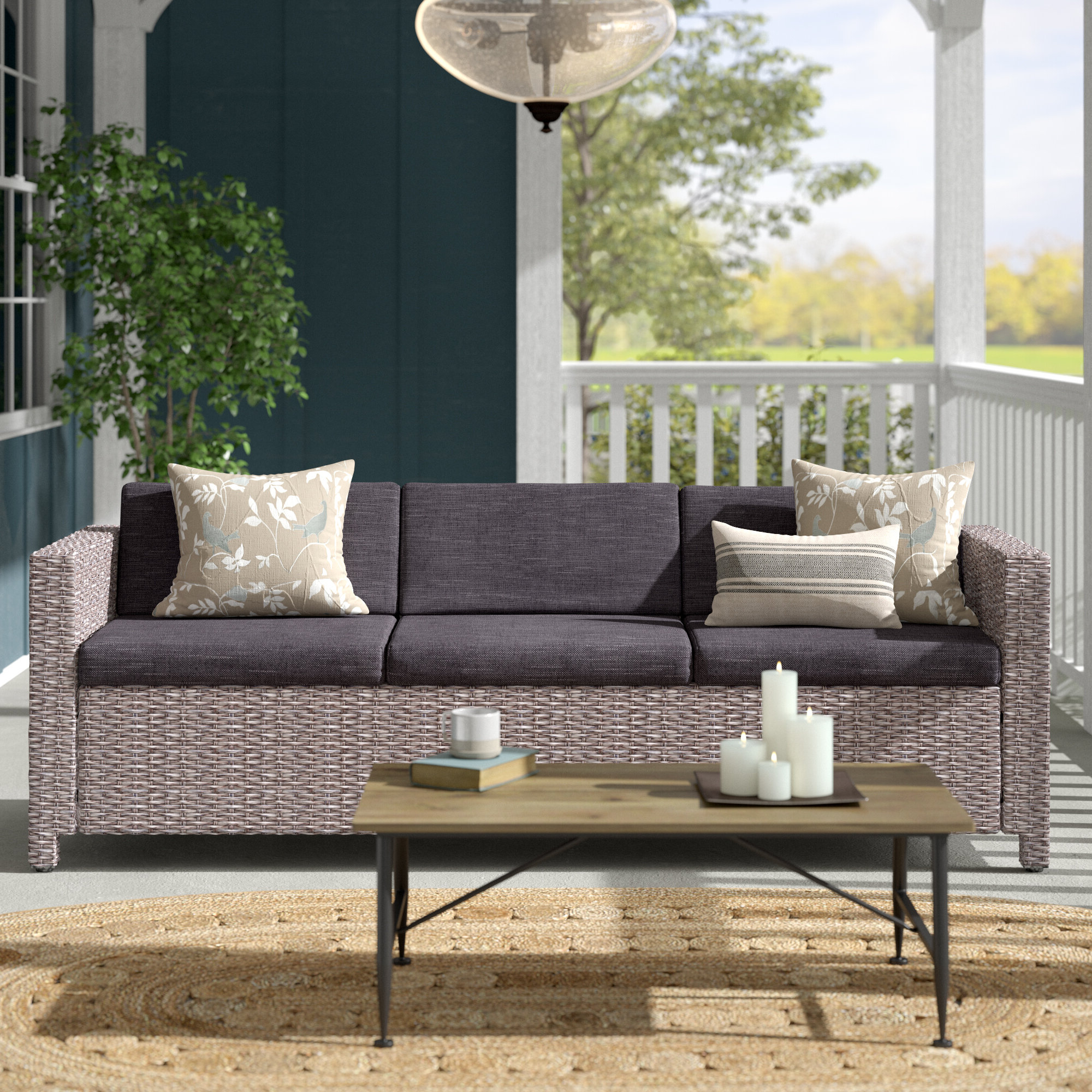 Wade Logan Furst Outdoor Patio Sofa With Cushions & Reviews Inside Latest Furst Patio Sofas With Cushion (View 6 of 20)