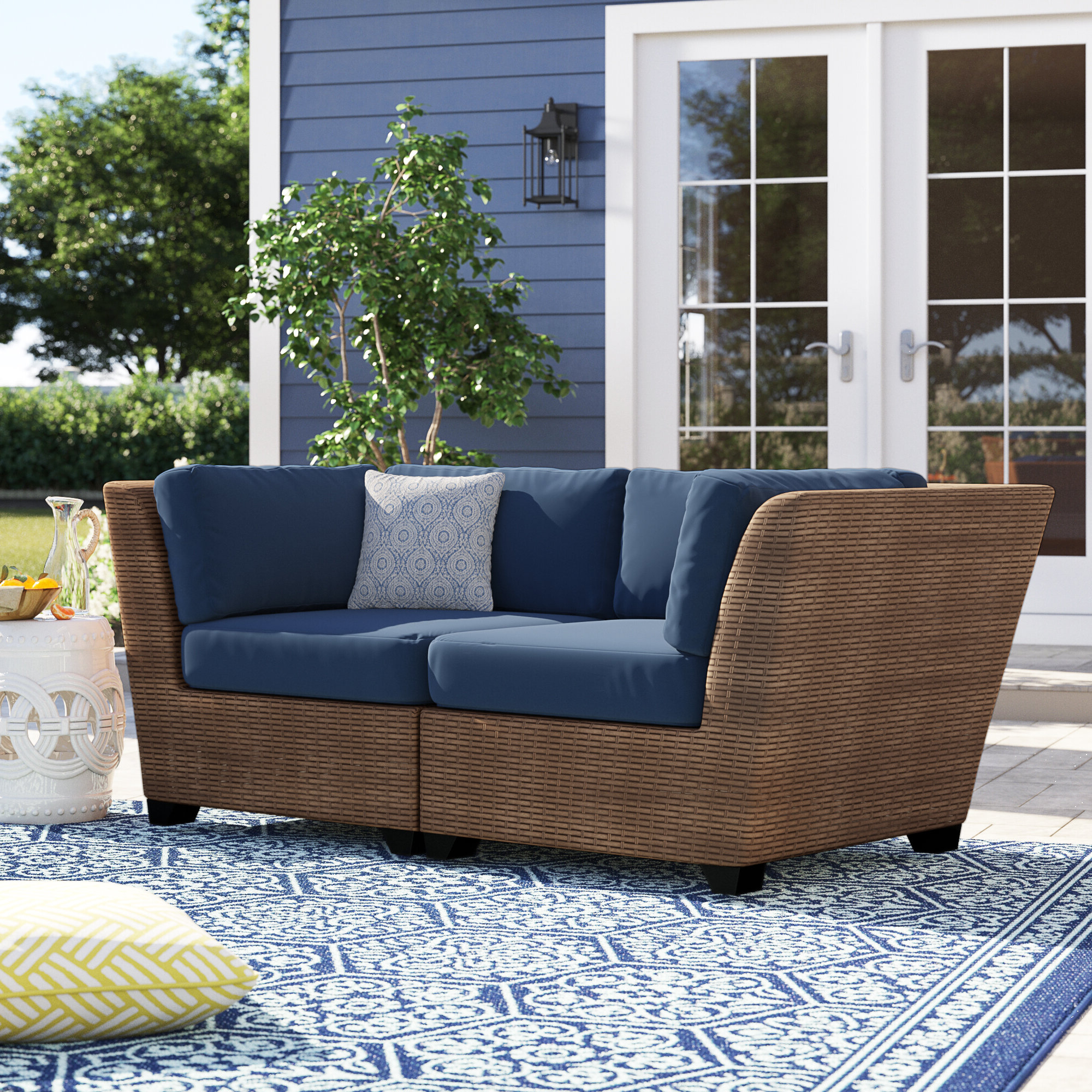 Waterbury Corner Sofa With Cushions Pertaining To Well Liked Avadi Outdoor Sofas & Ottomans 3 Piece Set (View 24 of 25)