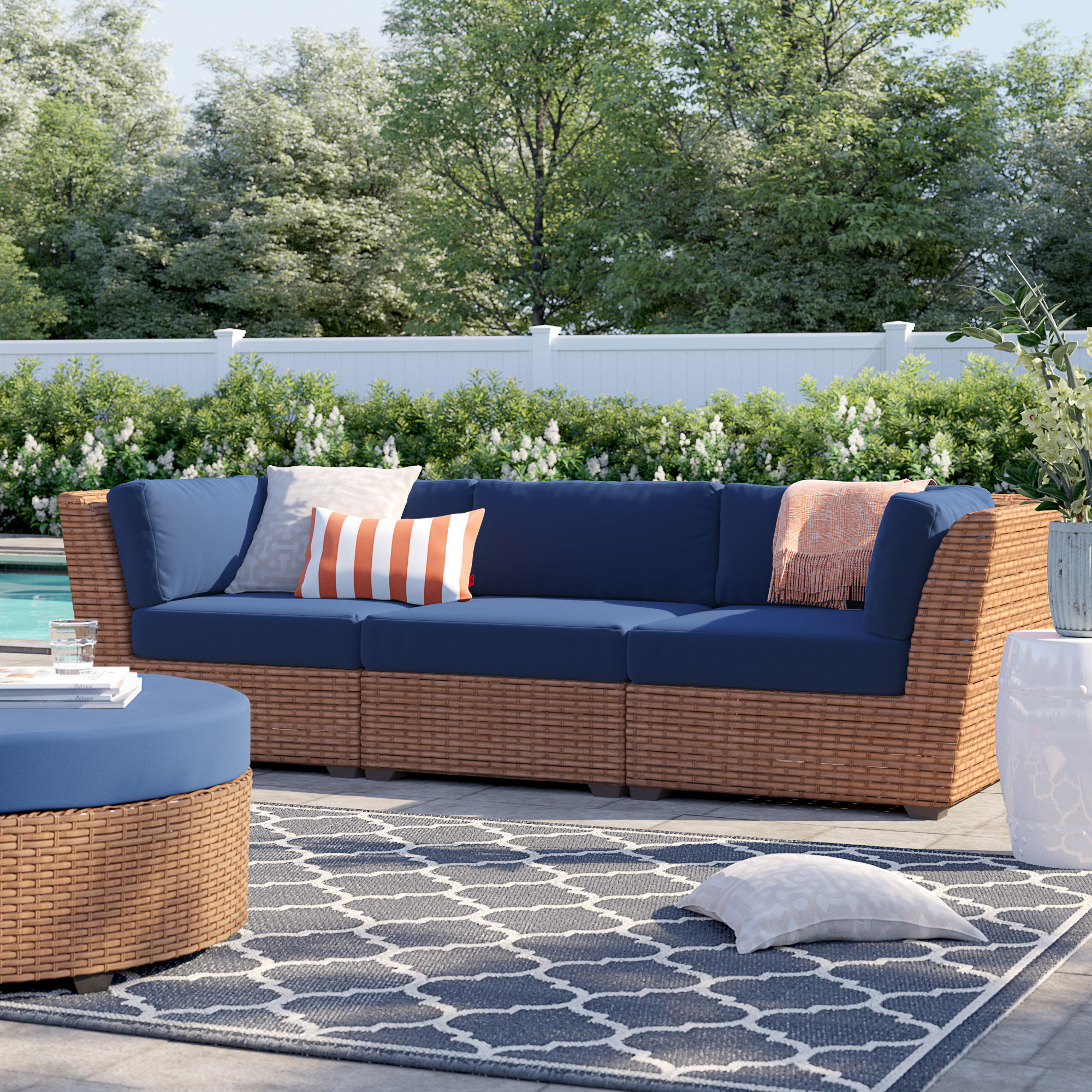 Waterbury Curved Armless Sofa With Cushions Inside Current Waterbury Patio Sofa With Cushions (View 16 of 20)