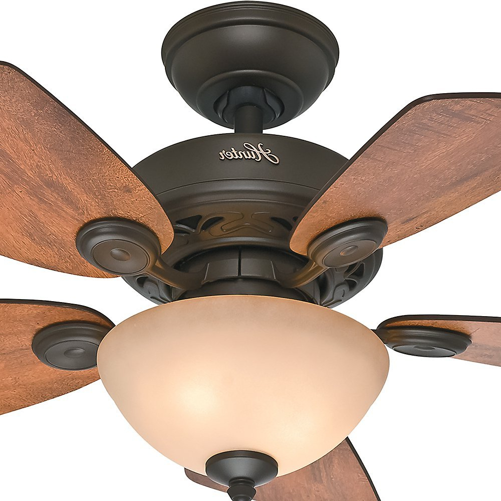 """Watson 5 Blade Ceiling Fans For Trendy Hunter 34"""" Watson New Bronze Ceiling Fan With Light (View 13 of 20)"""