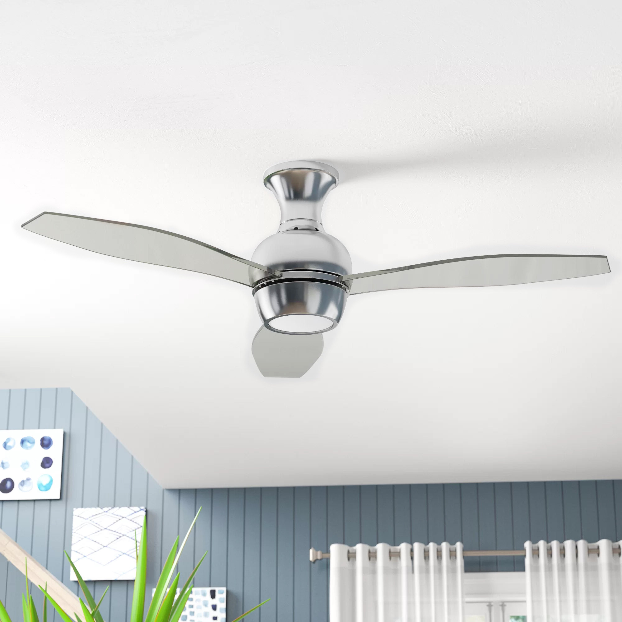 "Wave 3 Blade Led Ceiling Fans With Remote Intended For Newest 52"" Sylvan Place 3 Blade Led Ceiling Fan, Light Kit Included (View 9 of 20)"