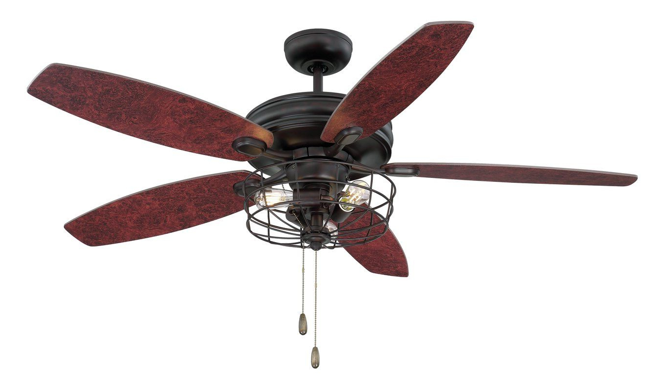 "Well Known 52"" Glenpool 5 Blade Ceiling Fan, Light Kit Included In 2019 In Wilburton 5 Blade Ceiling Fans With Remote (View 17 of 20)"