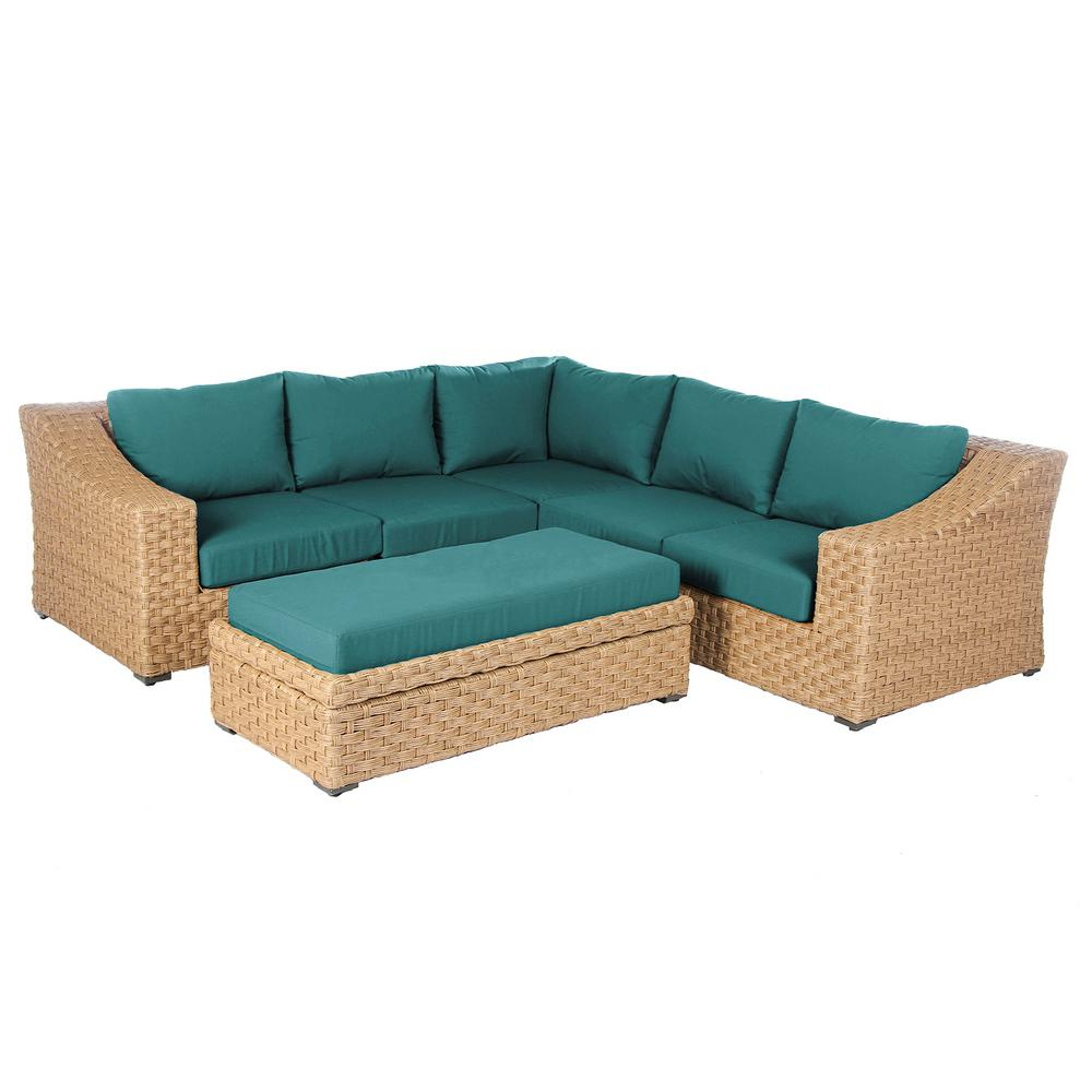 Well Known Ae Outdoor Elizabeth 6 Piece Wicker Patio Sectional Seating Set With  Spectrum Peacock Cushions Within Tess Corner Living Patio Sectionals With Cushions (View 19 of 20)