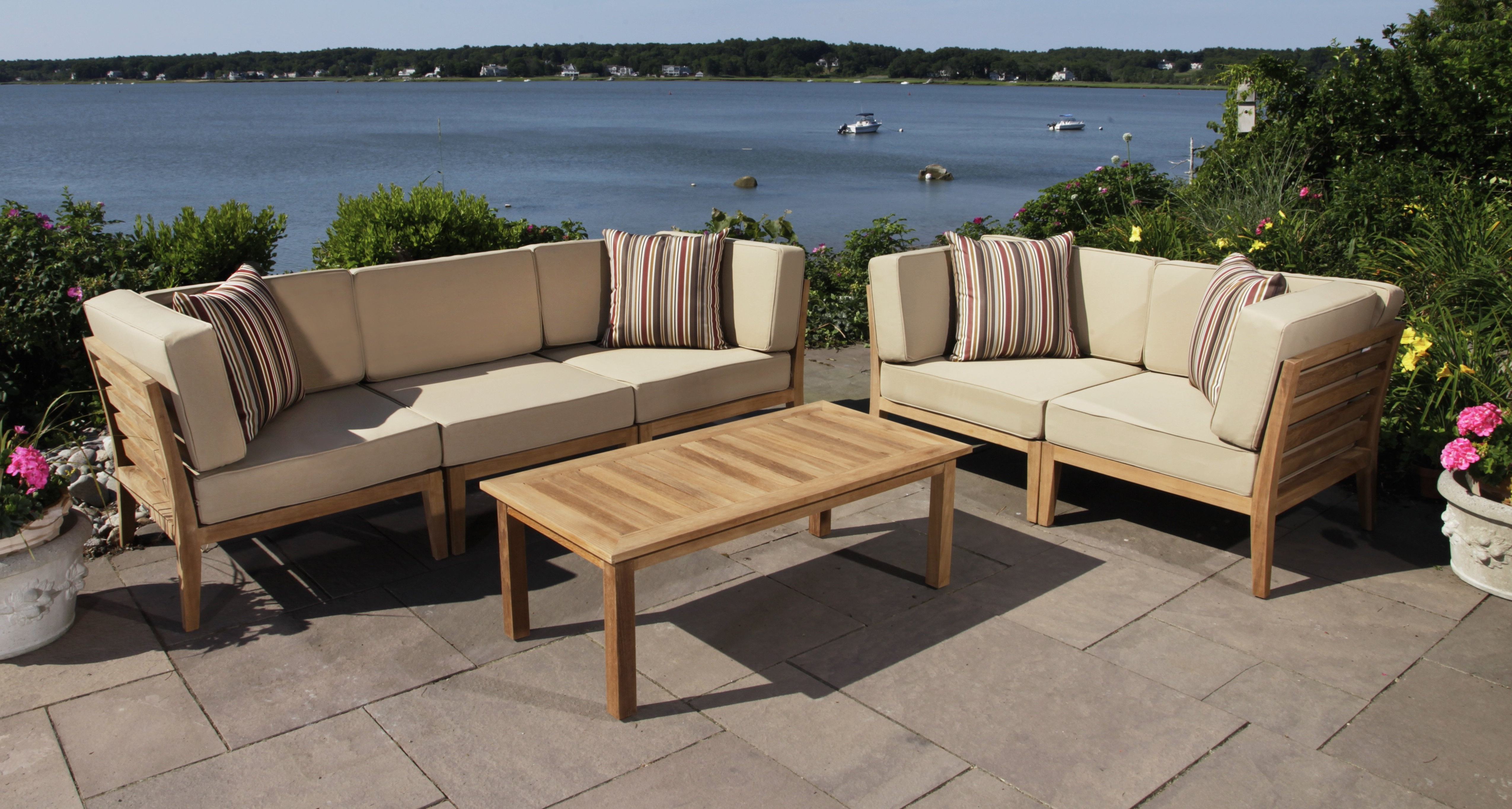 Well Known Antonia Teak Patio Sectionals With Cushions Throughout Bali 6 Piece Teak Sectional Set With Cushions (View 24 of 25)