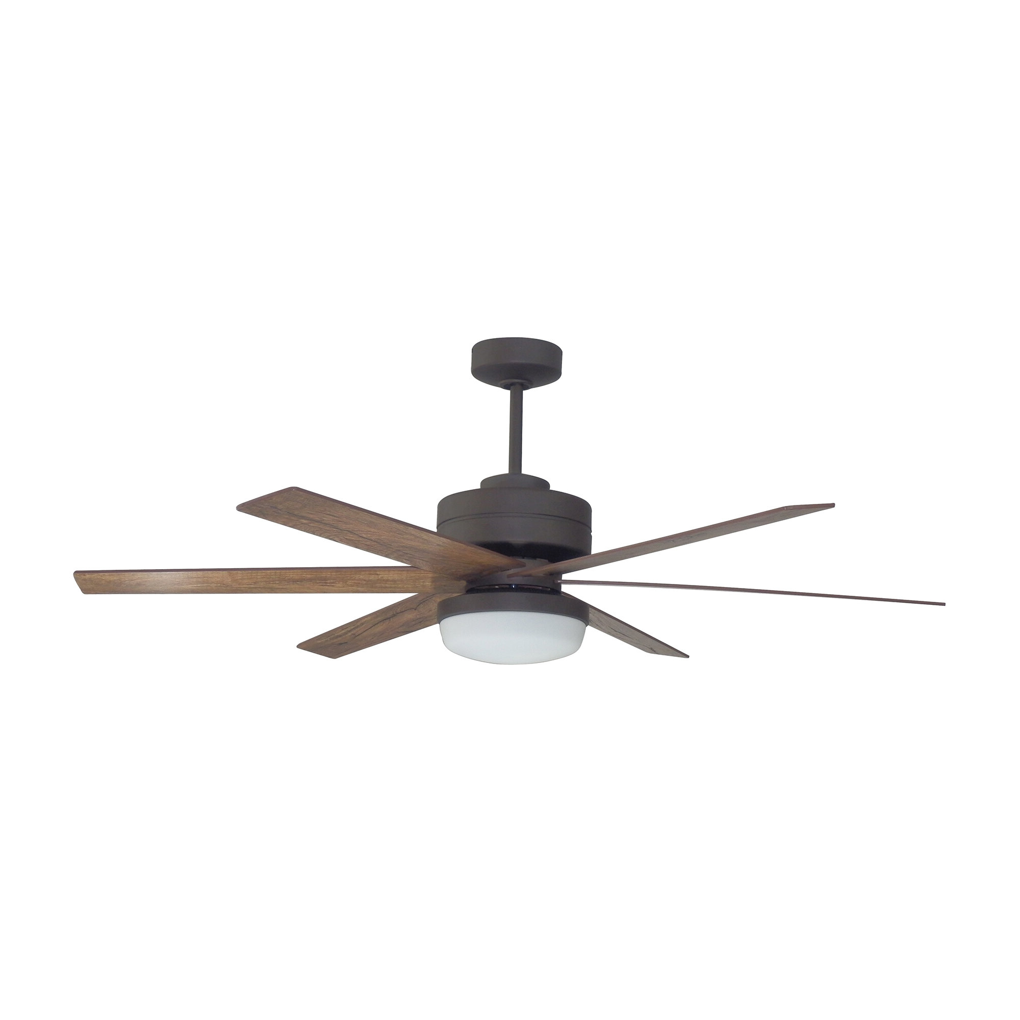 "Well Known Cillian 6 Blade Ceiling Fans Regarding 54"" Brack Dual Mount 6 Blade Ceiling Fan With Remote, Light Kit Included (View 20 of 20)"
