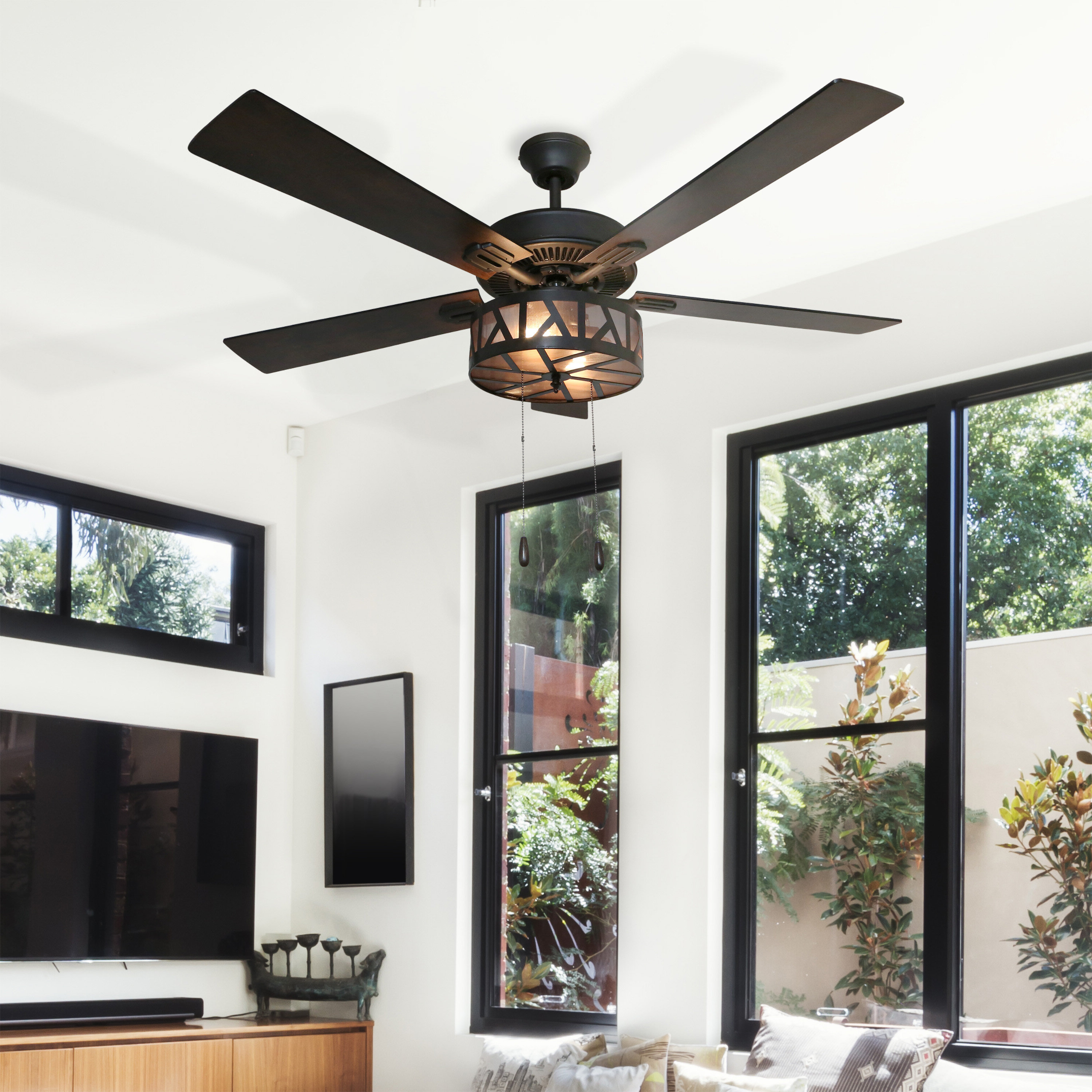 "Well Known Cillian 6 Blade Ceiling Fans Throughout 52"" Brinker Urban Caged 5 Blade Ceiling Fan With Remote, Light Kit Included (View 19 of 20)"