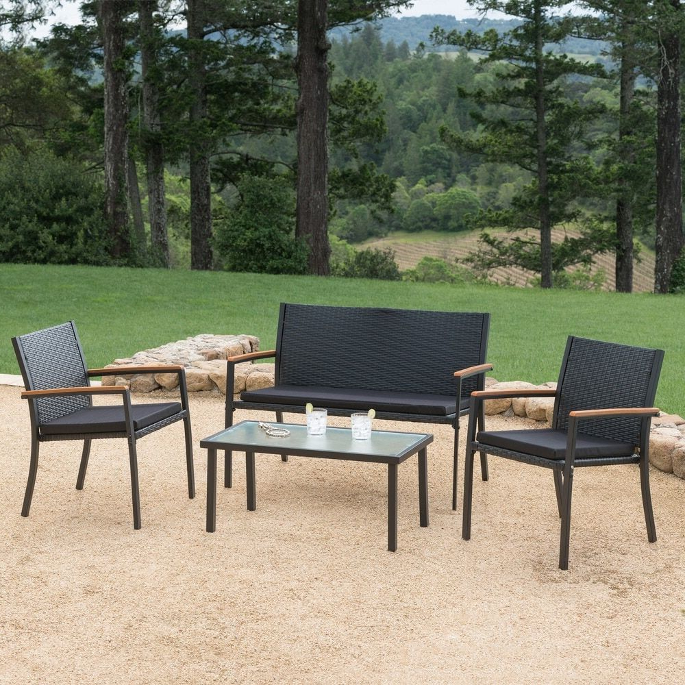 Well Known Corvus Lecco Black Wicker Outdoor 4 Piece Seating Set – Free Intended For Bullock Outdoor Wooden Loveseats With Cushions (Gallery 20 of 20)