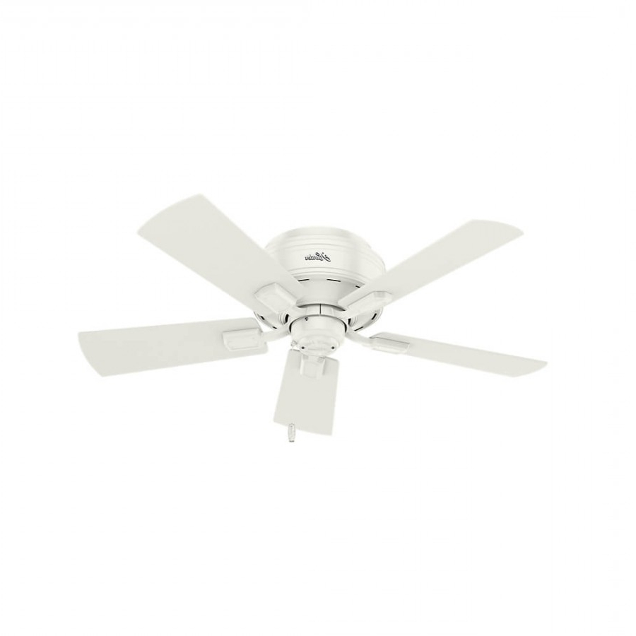 Well Known Crestfield 5 Blade Led Ceiling Fans With Hunter 52152 Crestfield 3 Led Light 42 Inch Ceiling Fan In Fresh White With  5 Drifted Oak Blade And Clear Seeded Glass (View 18 of 20)