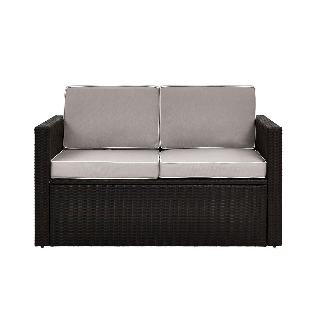 Well Known Crosley Palm Harbor Wicker Outdoor Loveseat With Grey Regarding Mosca Patio Loveseats With Cushions (View 18 of 20)