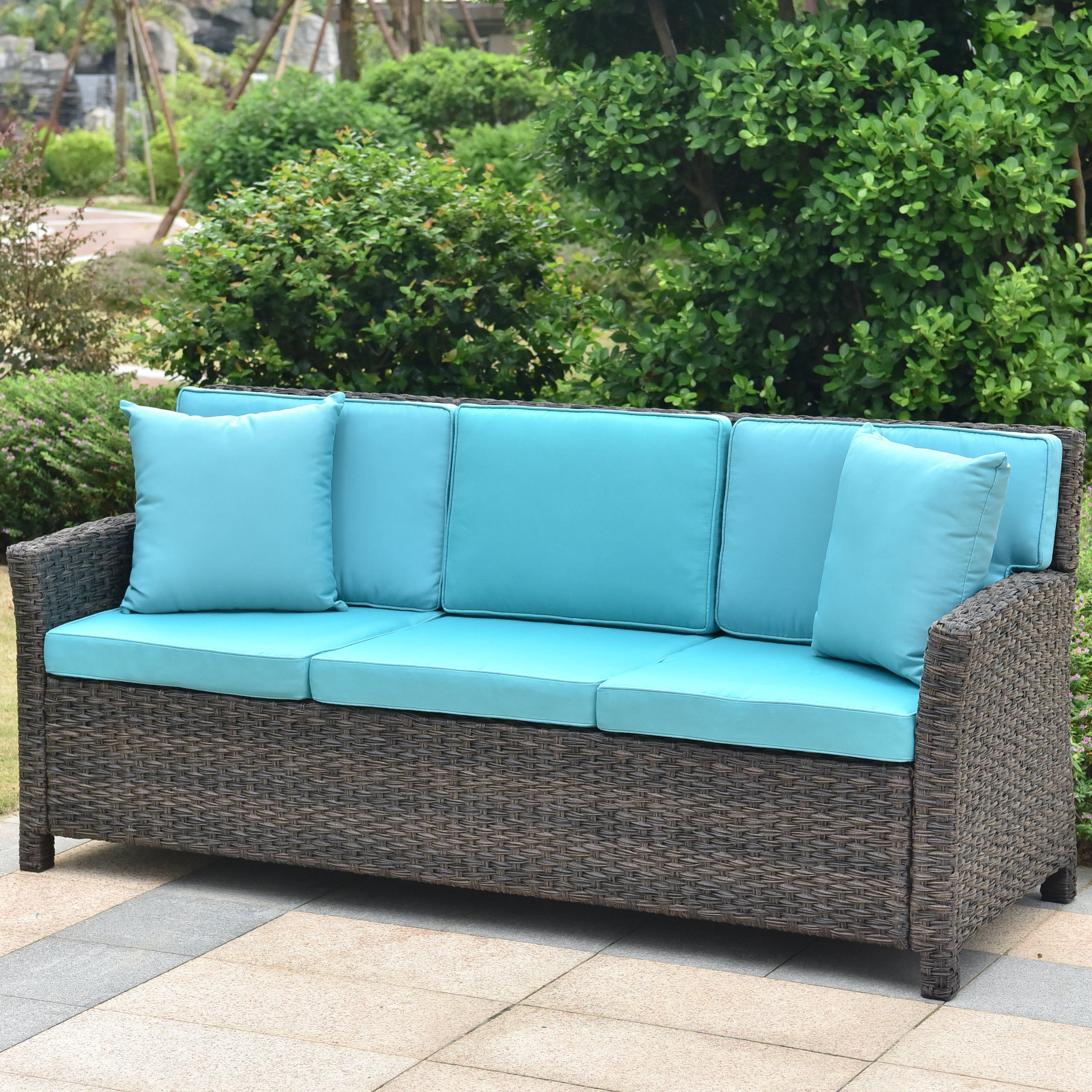 Well Known Deanna Resin Wicker Patio Sofa With Cushions Throughout Mullenax Outdoor Loveseats With Cushions (View 19 of 20)