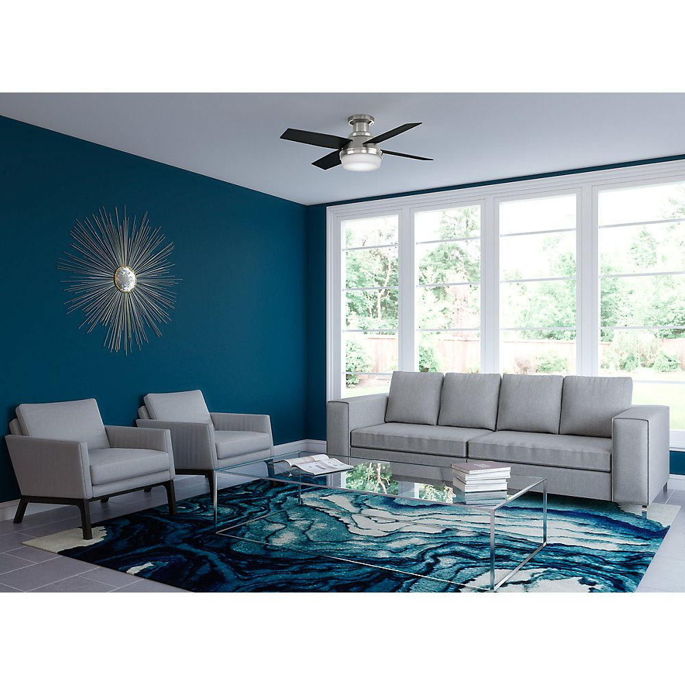 """Well Known Dempsey Low Profile 4 Blade Ceiling Fans With Remote Within Hunter 44"""" Dempsey Low Profile With Light Fresh White Ceiling Fan With  Light With Handheld Remote (View 20 of 20)"""