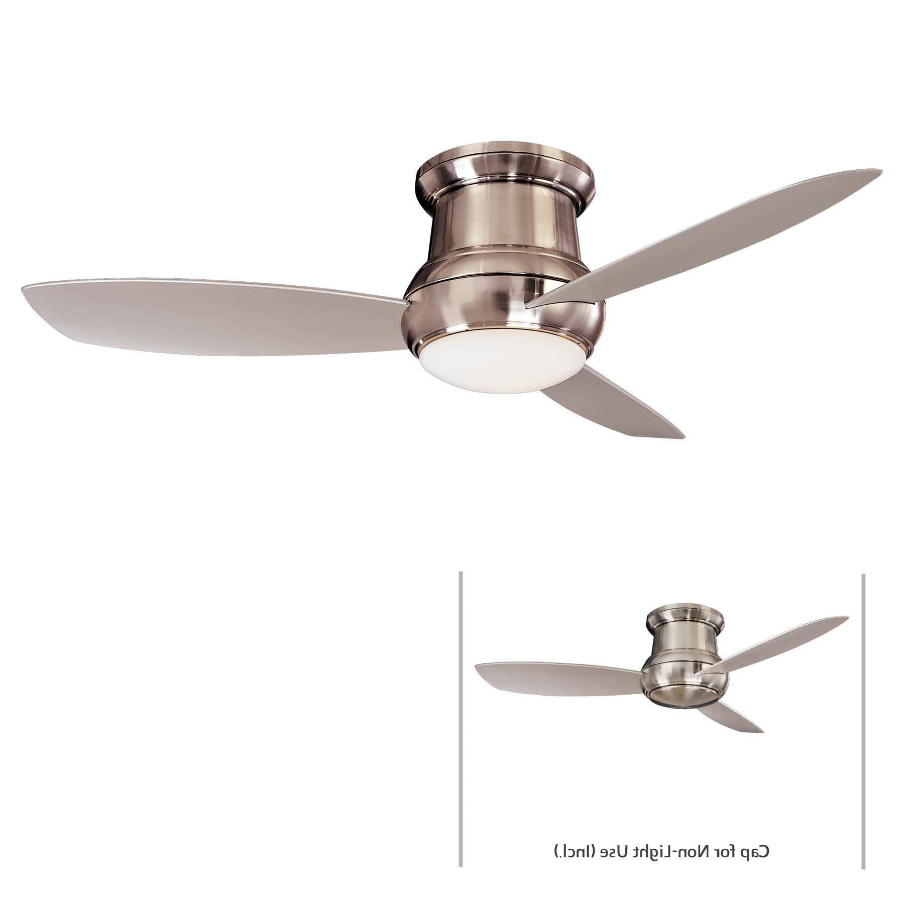 """Well Known Details About Minka Aire F474L Bnw 52"""" Led Flush Mount Ceiling Fan With Regard To Concept Ii 3 Blade Ceiling Fans (View 18 of 20)"""