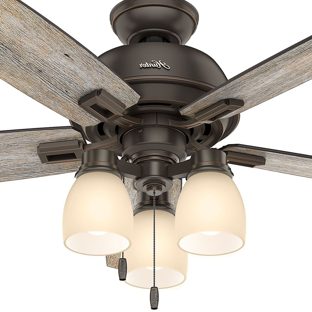 Well Known Donegan 5 Blade Led Ceiling Fans Regarding Hunter Fan Company Donegan Three Light Onyx Bengal Led Ceiling Fan With Light At Destination Lighting (View 16 of 20)