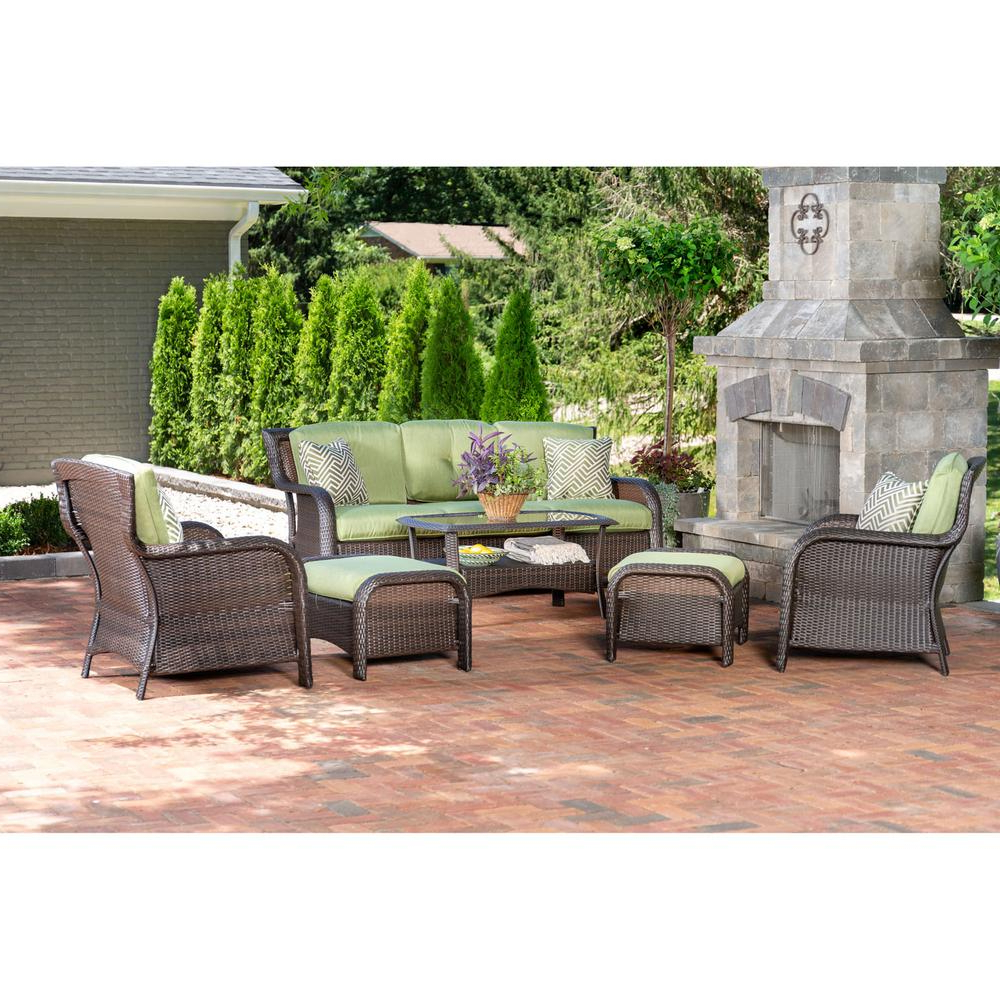 Well Known Envelor Hanover Strathmere 6 Piece Steel Patio Conversation Set With  Cilantro Green Cushions Regarding Greta Living Patio Sectionals With Cushions (View 18 of 20)