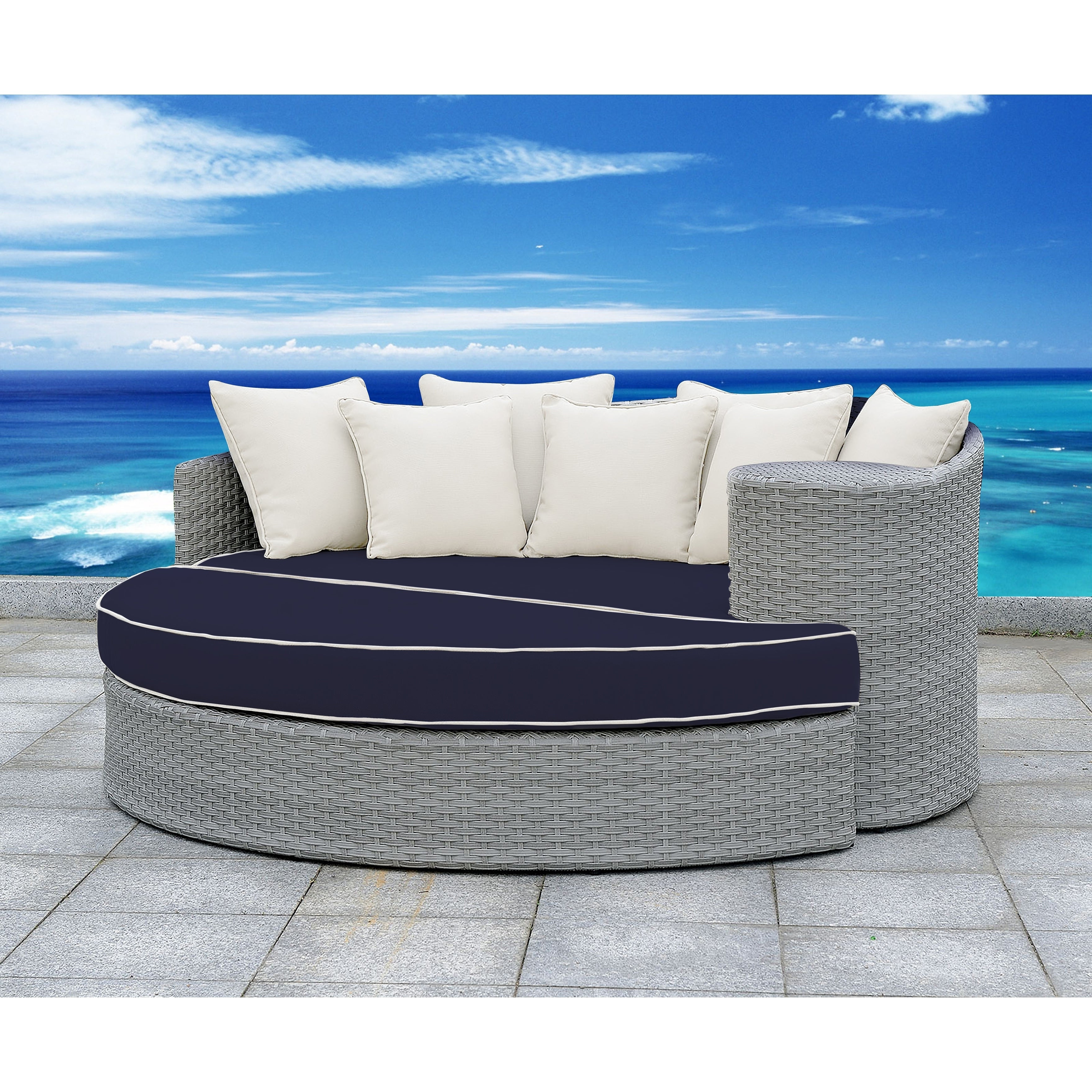 Well Known Falmouth Patio Daybeds With Cushions Intended For Solis Gratia 2 Piece Daybed Patio Set – Navy Cushions, White Pillows (View 17 of 20)