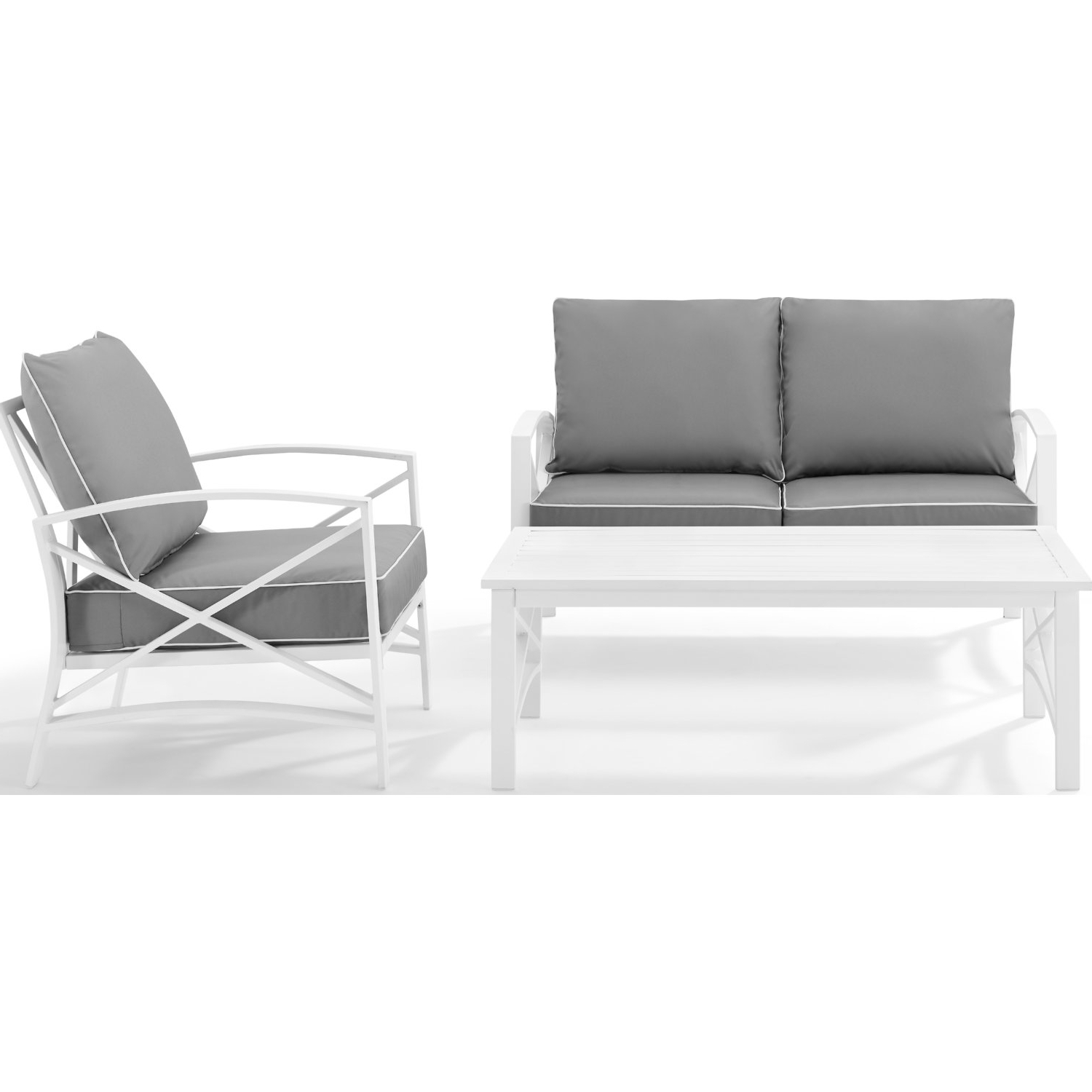 Well Known Freitag Loveseats With Cushions Regarding Kaplan 3 Piece Outdoor Loveseat Set W/ Grey Cushions (View 19 of 20)