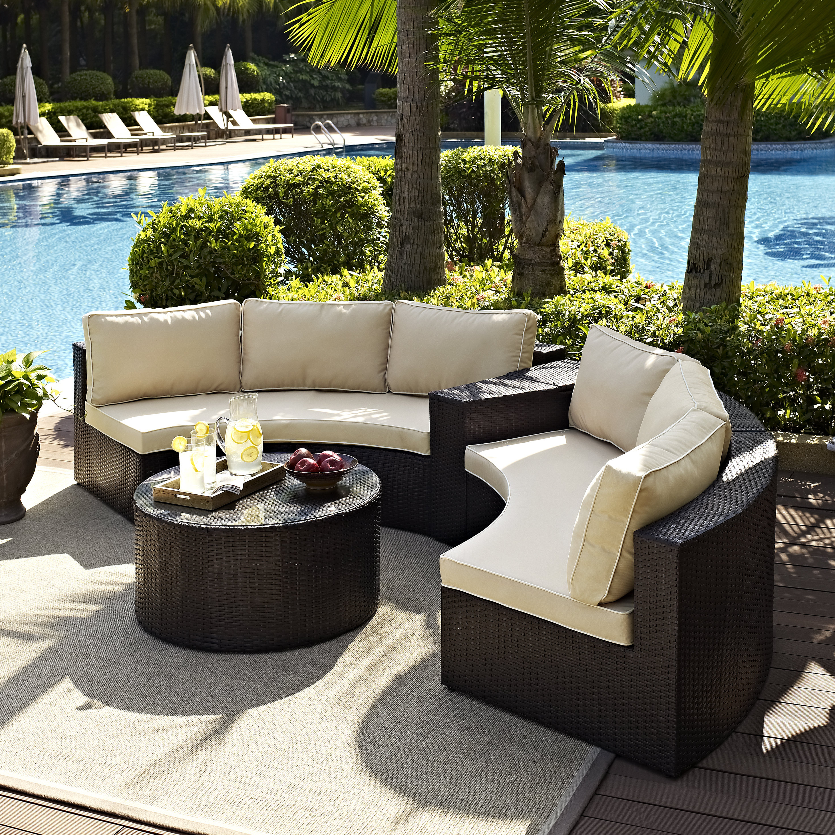 Well Known Highland Dunes Michal 4 Piece Sectional Set With Cushions Regarding Michal Patio Sofas With Cushions (View 15 of 20)