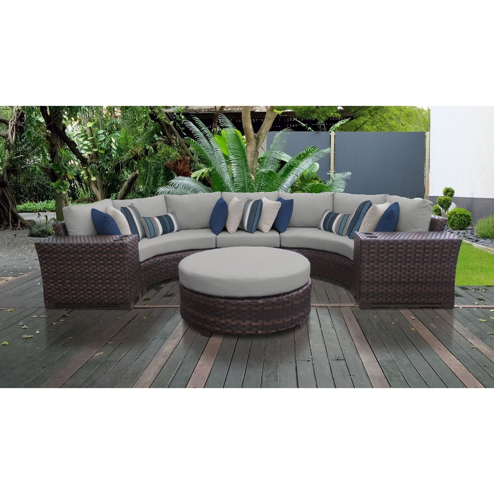 Well Known Kathy Ireland River Brook 6 Piece Outdoor Wicker Patio Furniture Set 06C Regarding Oreland Patio Sofas With Cushions (View 19 of 20)