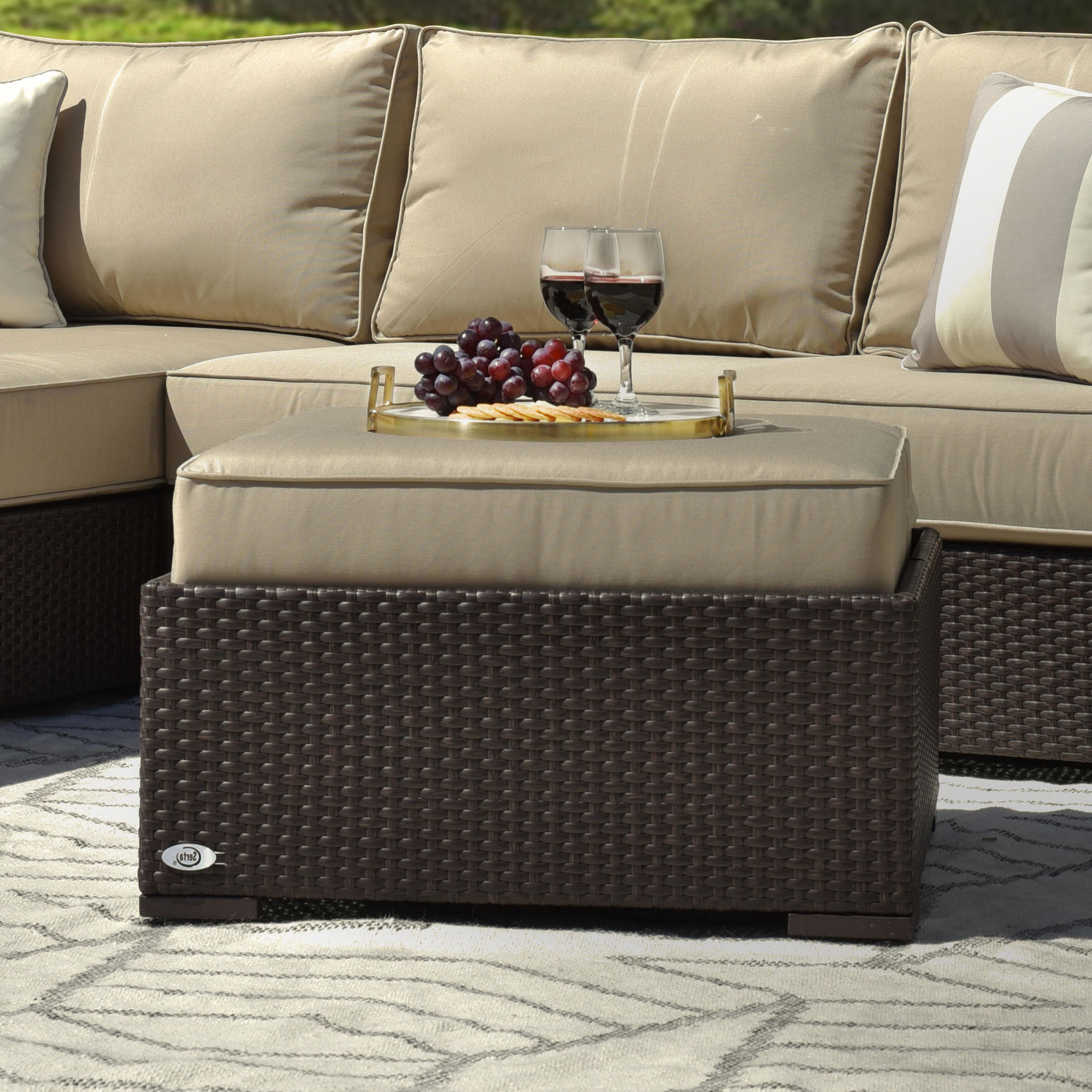 Well Known Laguna Outdoor Ottoman With Cushion Throughout Laguna Outdoor Sofas With Cushions (View 18 of 20)