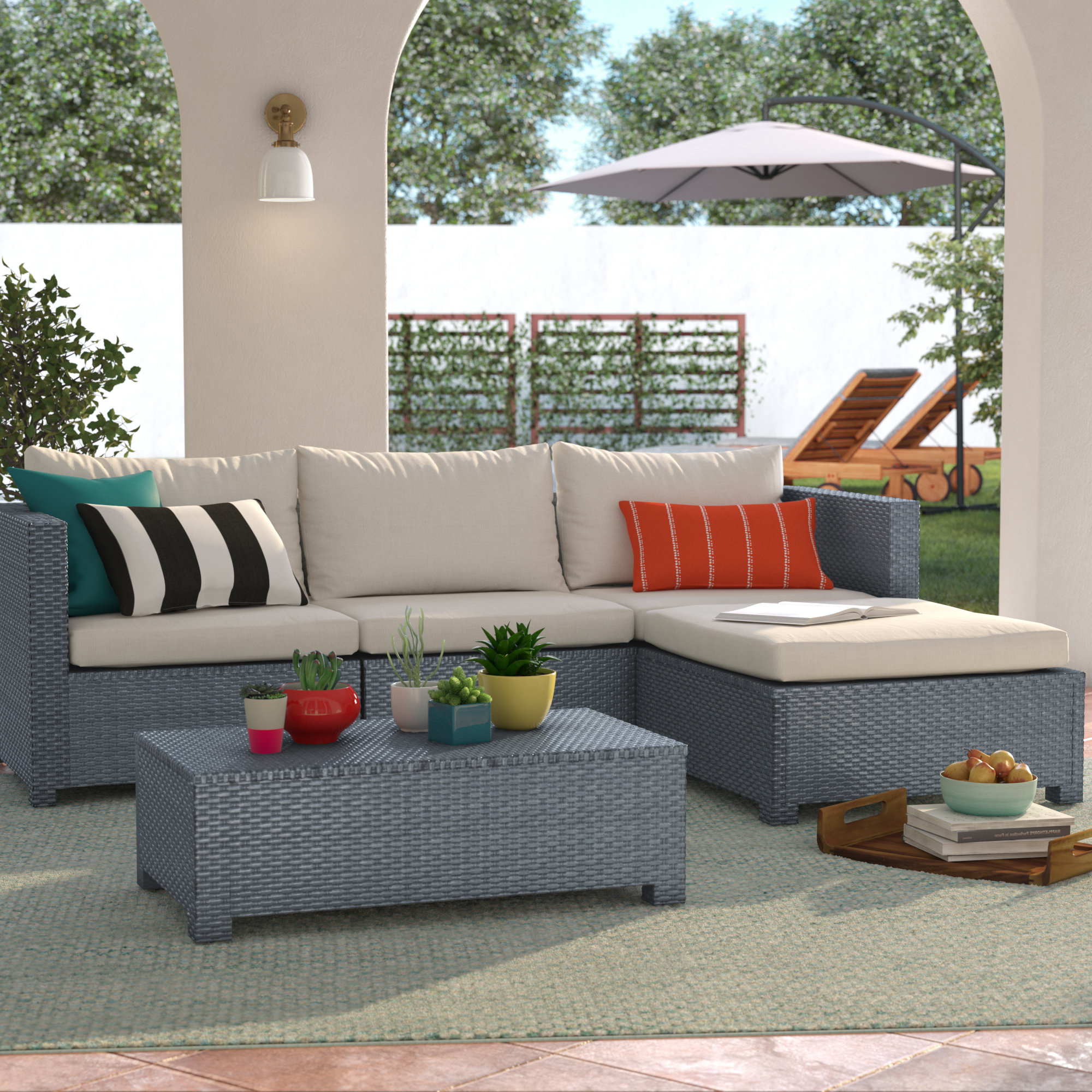 Well Known Larsen 5 Piece Sectional Seating Group With Cushions Pertaining To Larsen Patio Sectionals With Cushions (View 18 of 20)