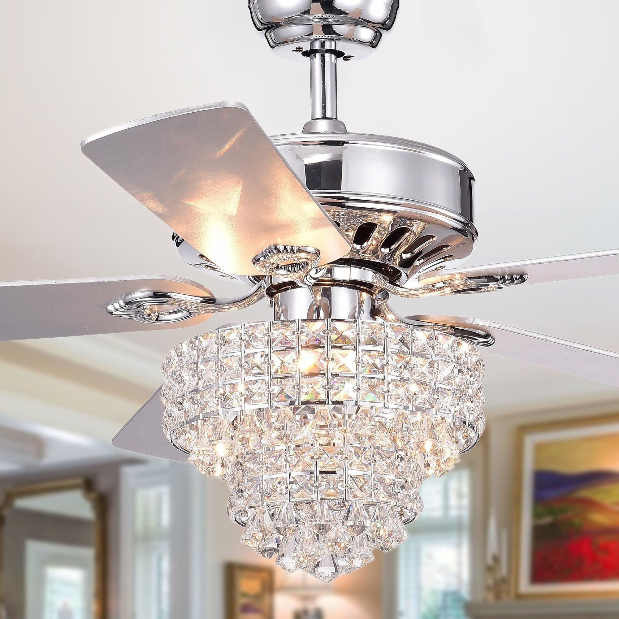 Well Known Lindsay 5 Blade Ceiling Fans Regarding Bryanya 5 Blade 52 Inch Chrome Lighted Ceiling Fans With Crystal Shade (Optional Remote) (View 10 of 20)