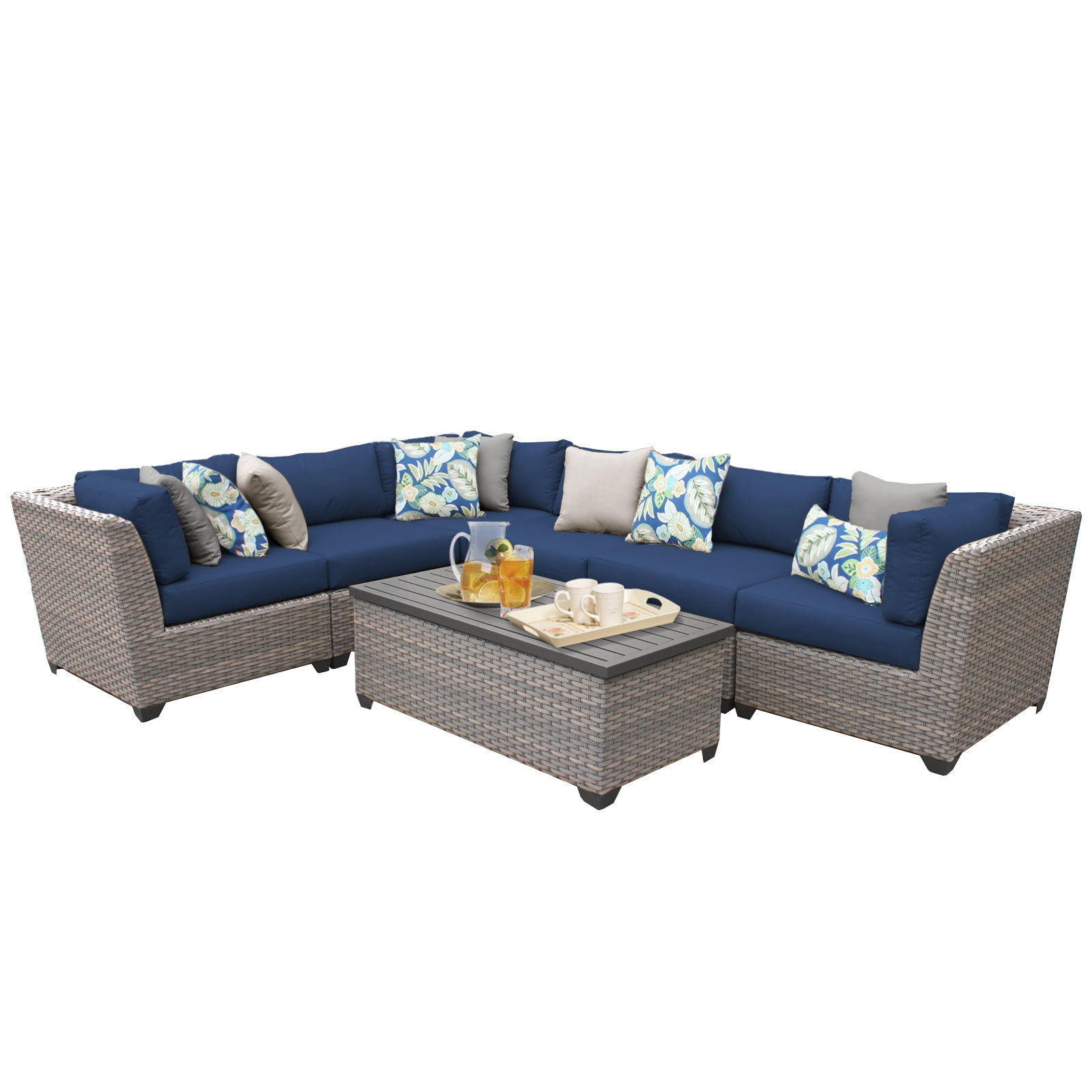 Well Known Meeks 7 Piece Sectional Seating Group With Cushions With Meeks Patio Sofas With Cushions (View 9 of 20)