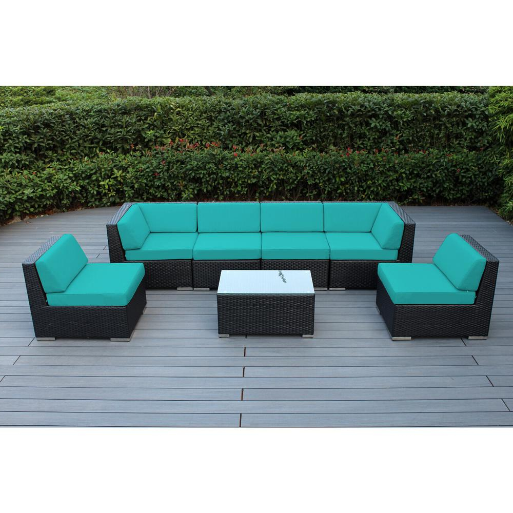 Well Known Ohana Depot Ohana Black 7 Piece Wicker Patio Seating Set With Sunbrella  Aruba Cushions Inside Tess Corner Living Patio Sectionals With Cushions (View 20 of 20)