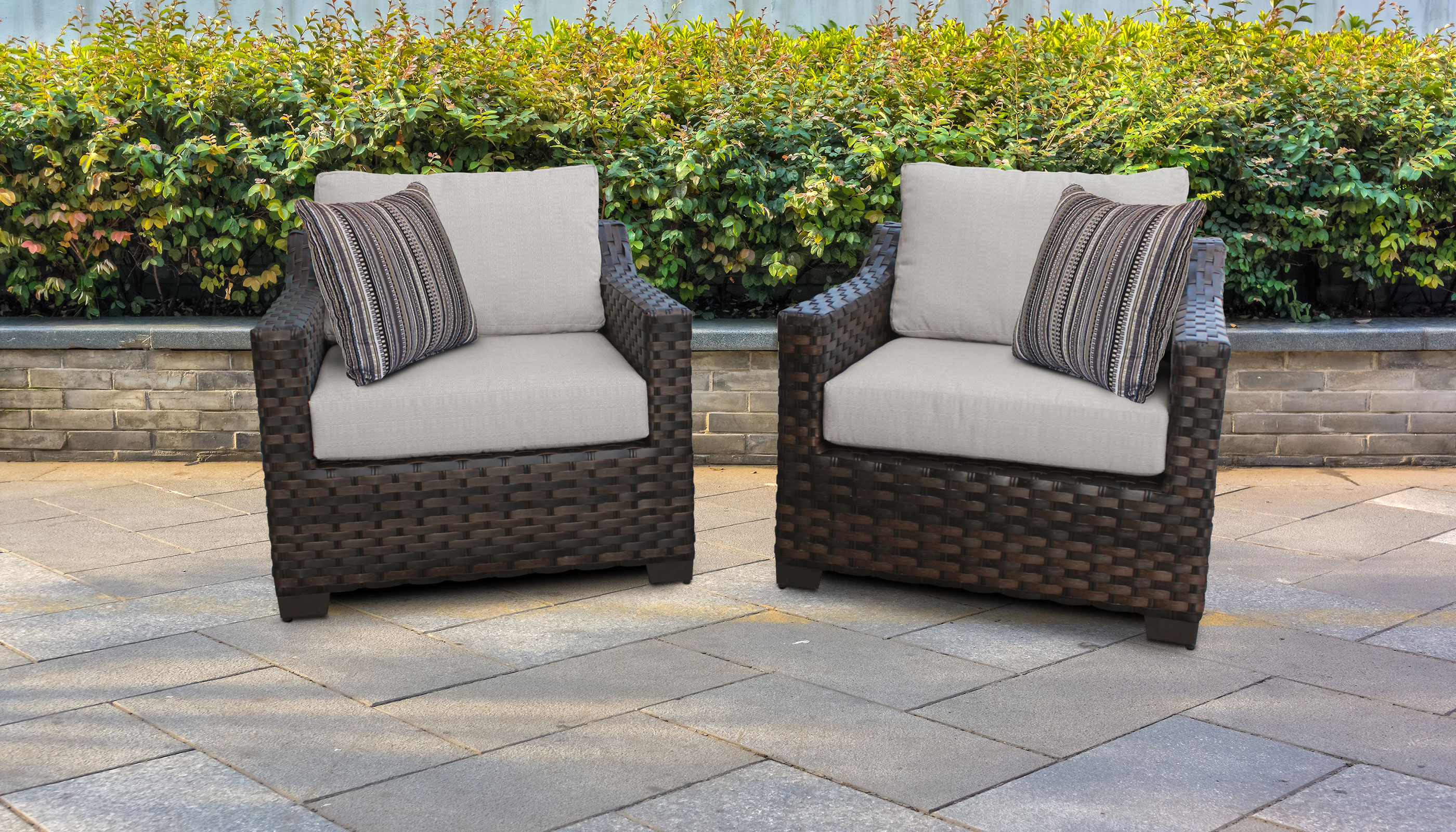 Well Known Oreland Patio Sofas With Cushions Regarding River 2 Piece Outdoor Wicker Patio Furniture Set 02B (View 20 of 20)