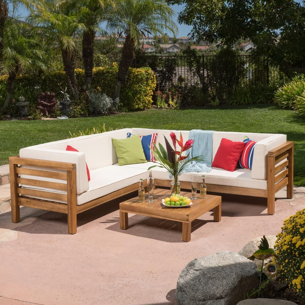 Well Known Seaham Patio Sectionals With Cushions Throughout Noble House Oana Teak Finish 4 Piece Wood Outdoor Sectional (View 18 of 20)