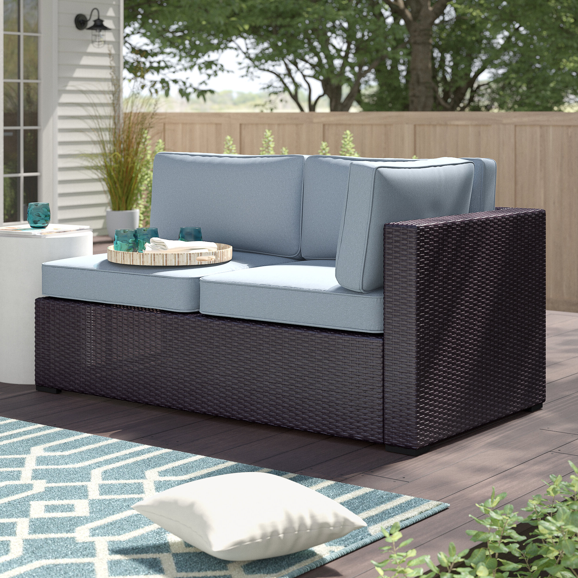 Well Known Seaton Loveseat With Cushions With Provencher Patio Loveseats With Cushions (View 18 of 20)