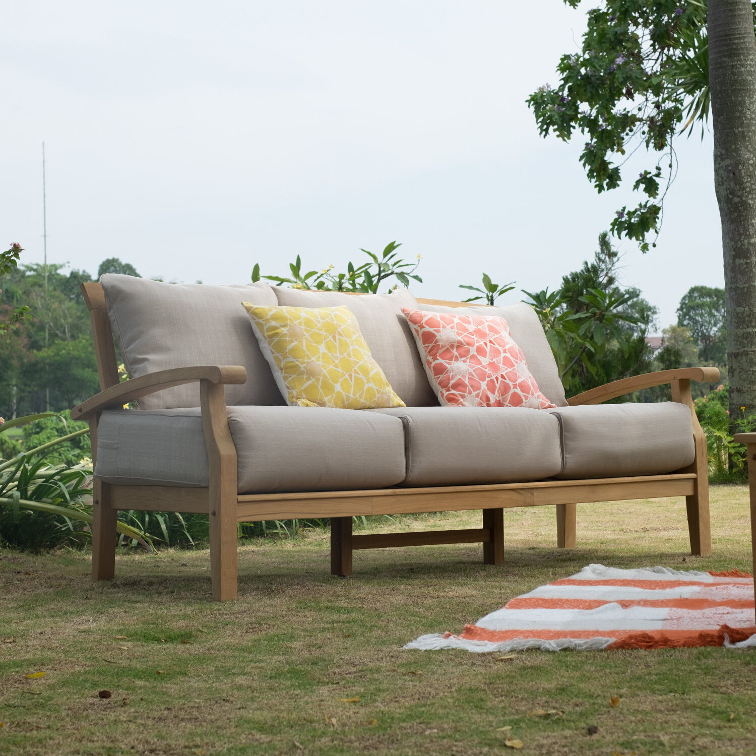 Well Known Summerton Teak Patio Sofa With Cushions Inside Clary Teak Lounge Patio Daybeds With Cushion (View 12 of 20)