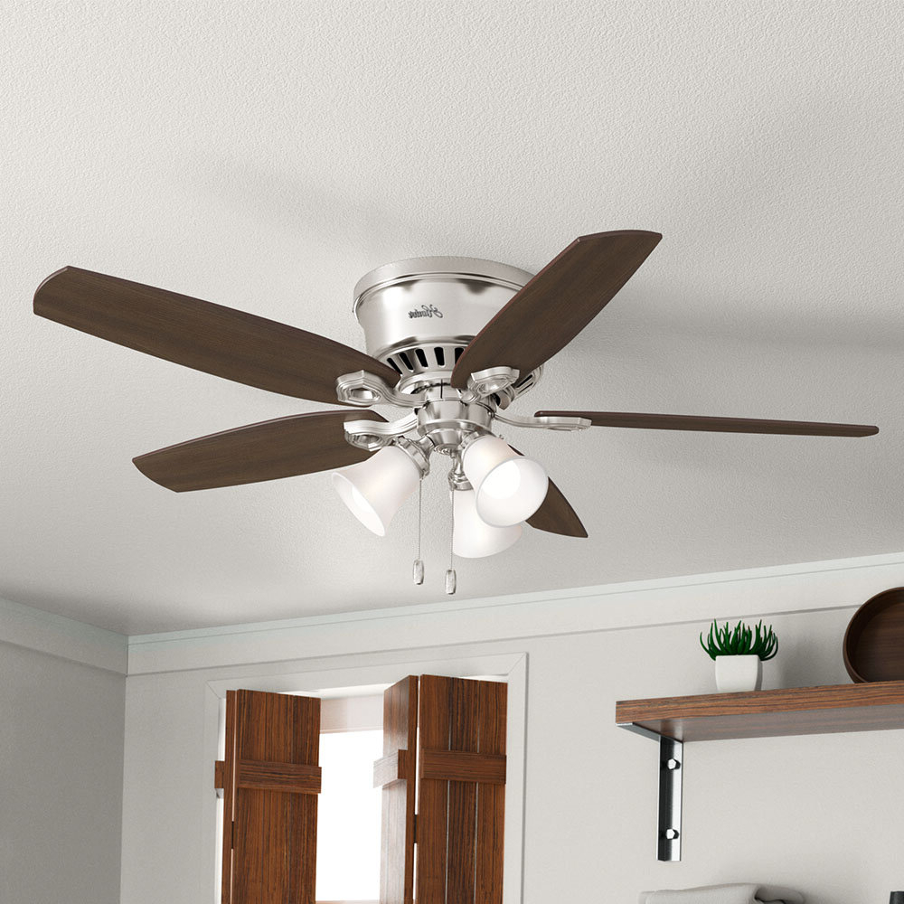"Well Liked 52"" Builder Low Profile 5 Blade Ceiling Fan Regarding Hunter Low Profile 5 Blade Ceiling Fans (View 4 of 20)"