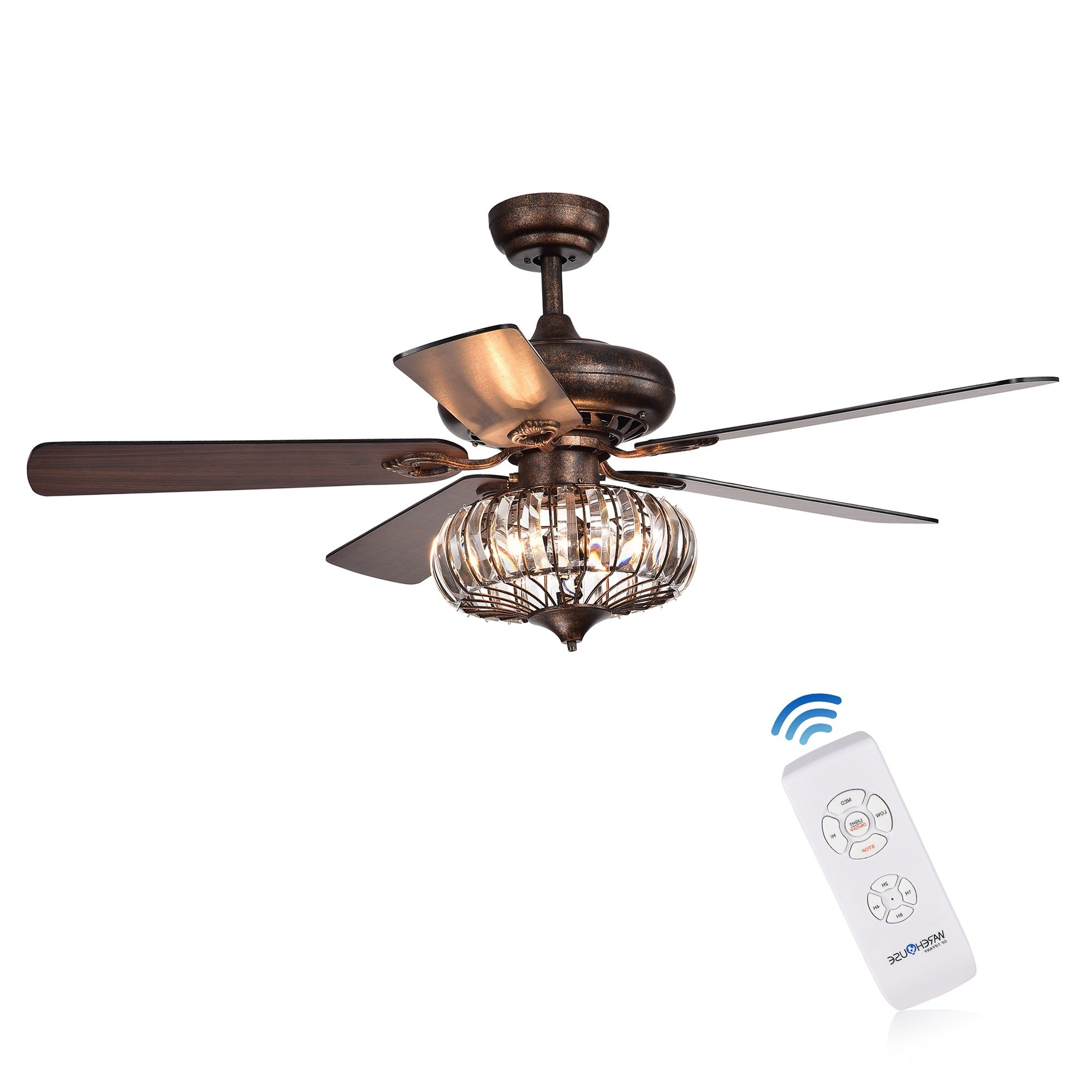 """Well Liked 52"""" Laivai Crystal 5 Blade Ceiling Fan With Regard To Clybourn 5 Blade Ceiling Fans (View 19 of 20)"""