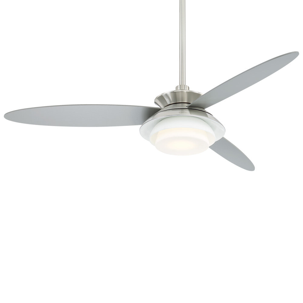 "Well Liked 56"" Stack 3 Blade Led Ceiling Fan With Remote In Wisp 3 Blade Led Ceiling Fans (View 15 of 20)"