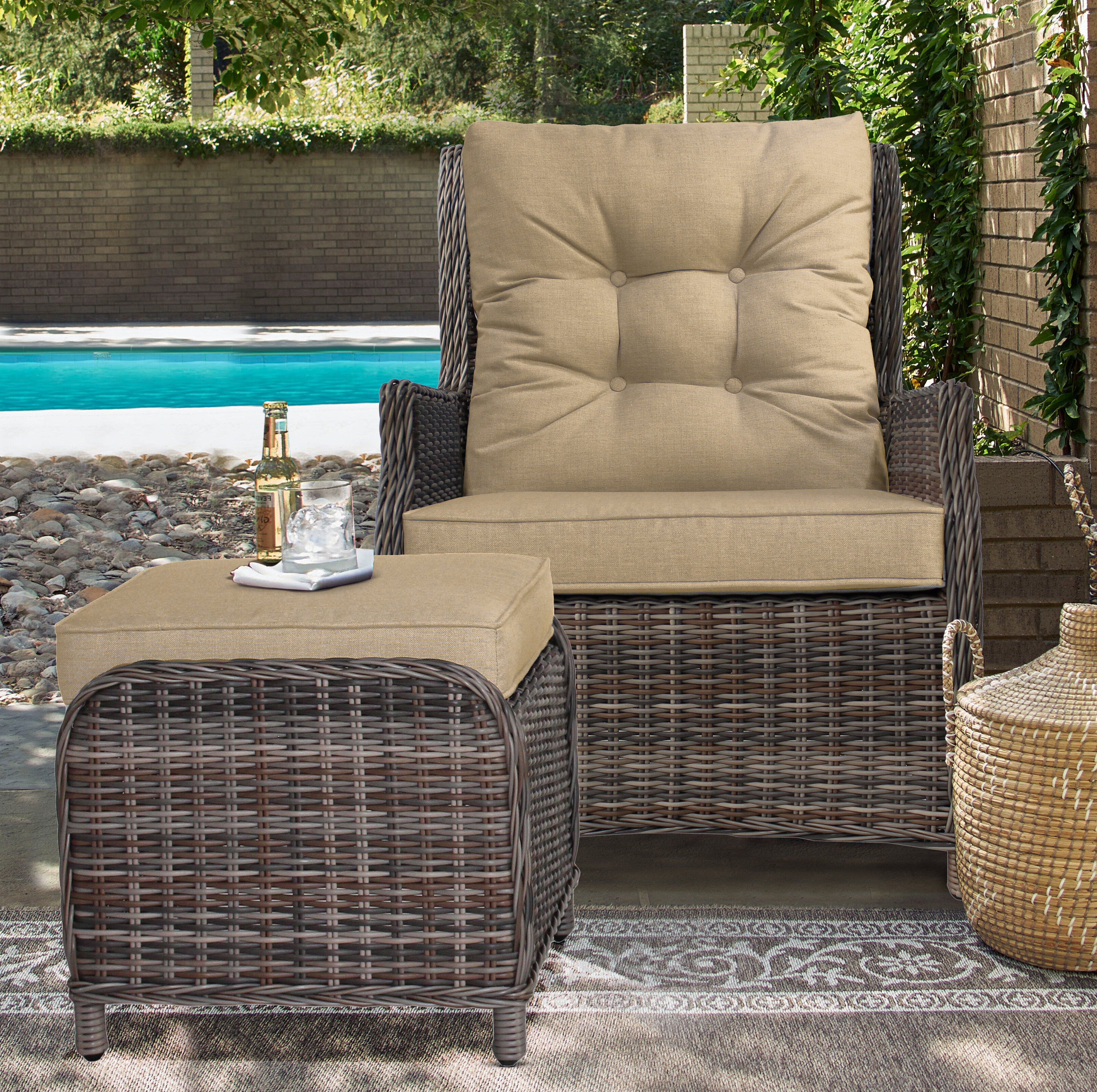 Well Liked Avadi Outdoor Sofas & Ottomans 3 Piece Set Regarding Darby Home Co Cardoza Outdoor Recliner Patio Chair With (View 21 of 25)