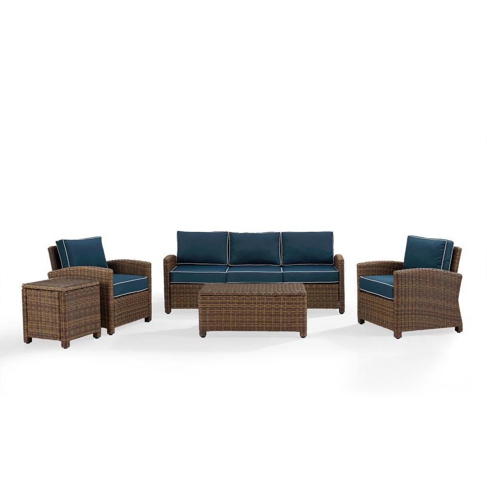 Well Liked Crosley Bradenton 5 Piece Wicker Patio Outdoor Sofa Conversation Set With  Navy Cushions For Laguna Outdoor Sofas With Cushions (View 20 of 20)