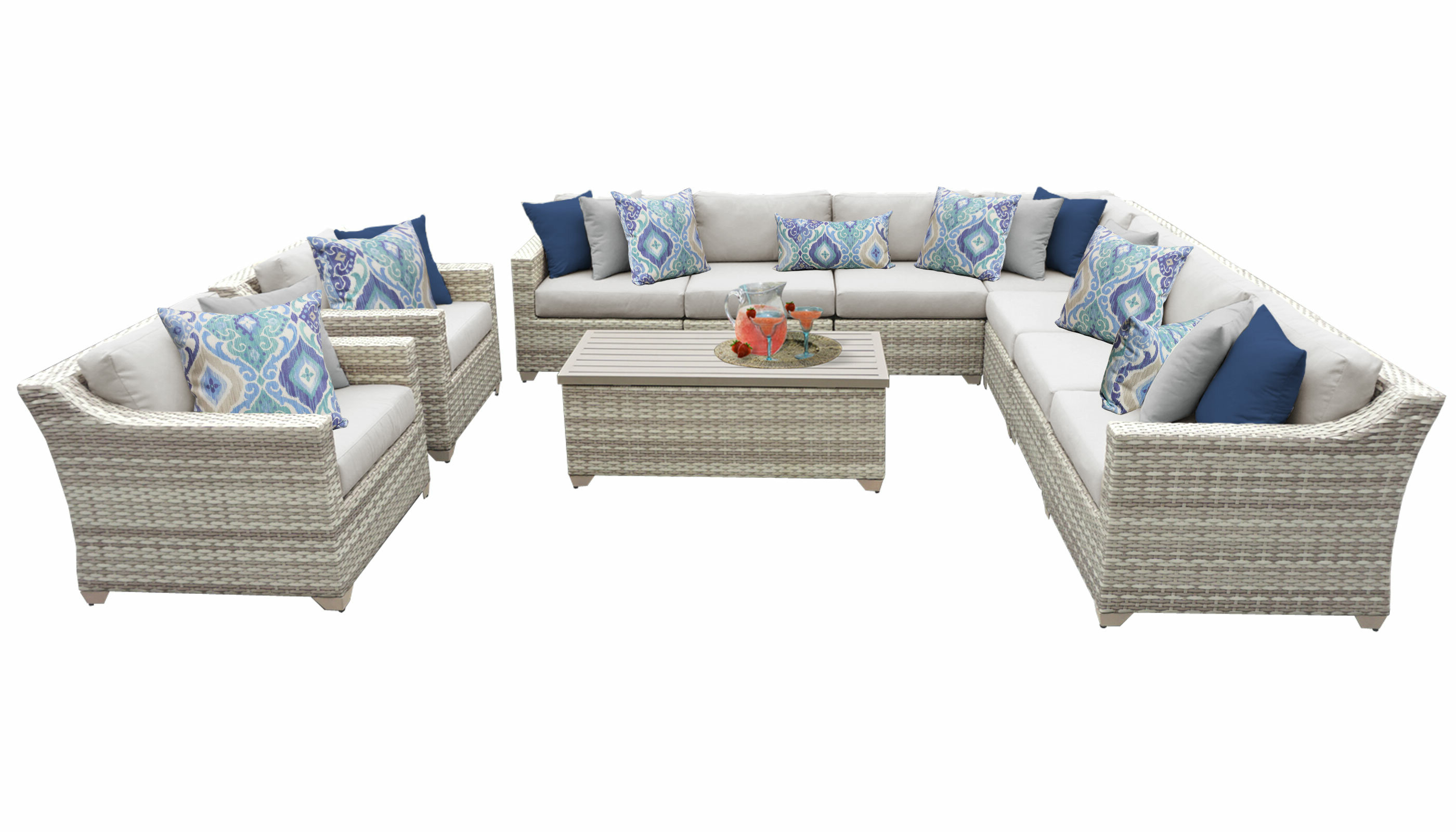 Well Liked Falmouth 10 Piece Sectional Seating Group With Cushions Intended For Falmouth Patio Sofas With Cushions (Gallery 17 of 20)