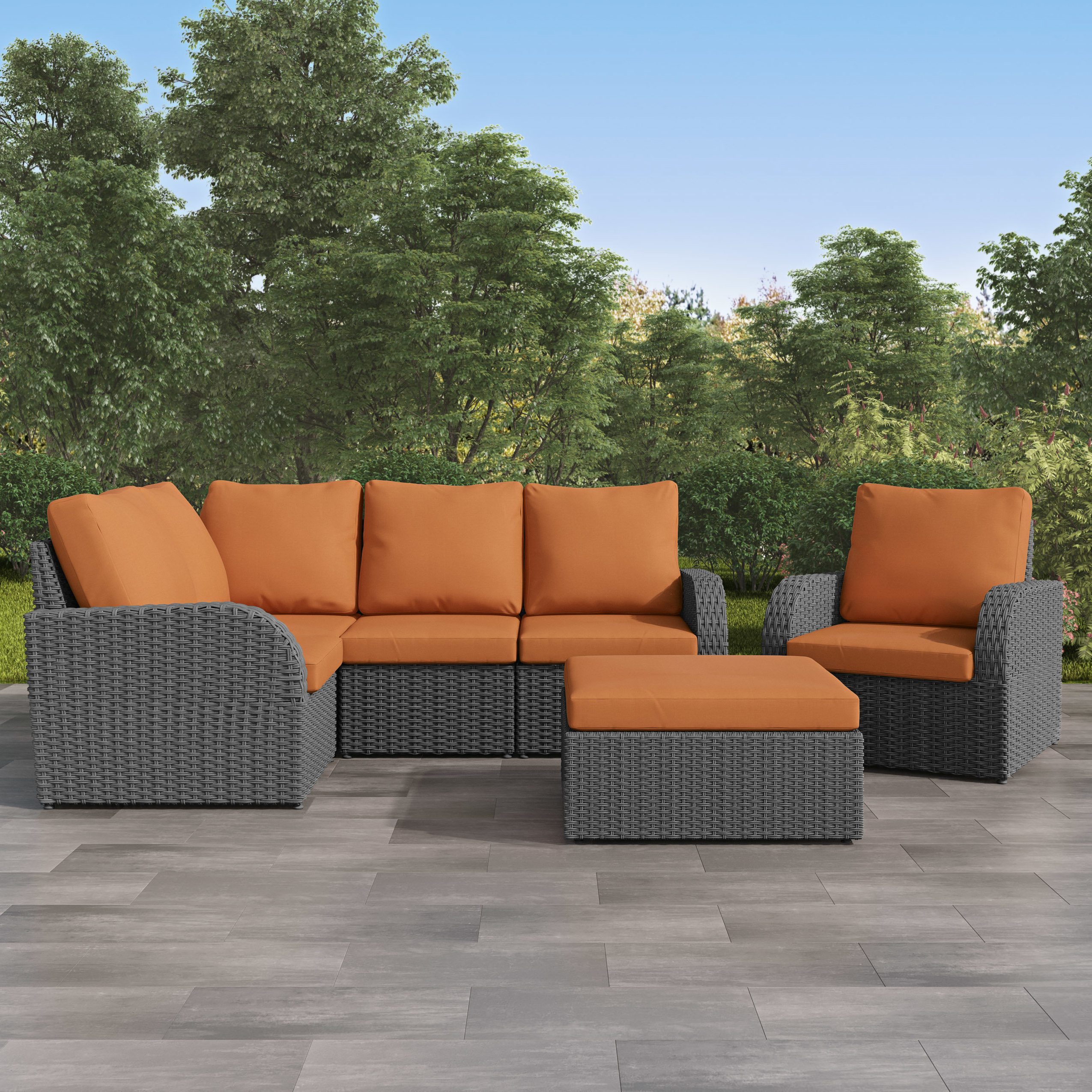 Well Liked Killingworth Patio Sectional With Cushions With Regard To Jamarion 4 Piece Sectionals With Sunbrella Cushions (View 19 of 20)