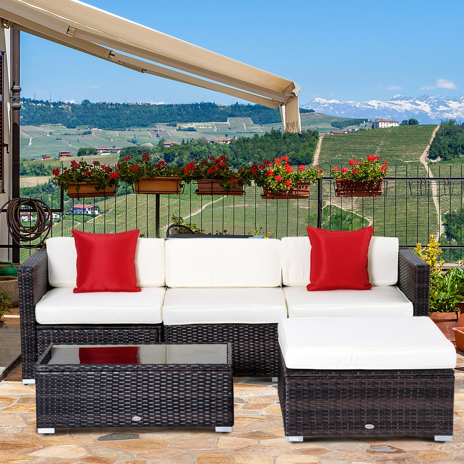Well Liked Larsen Patio Sectionals With Cushions With Hazen 5 Piece Rattan Sectional Seating Group With Cushions (View 18 of 20)