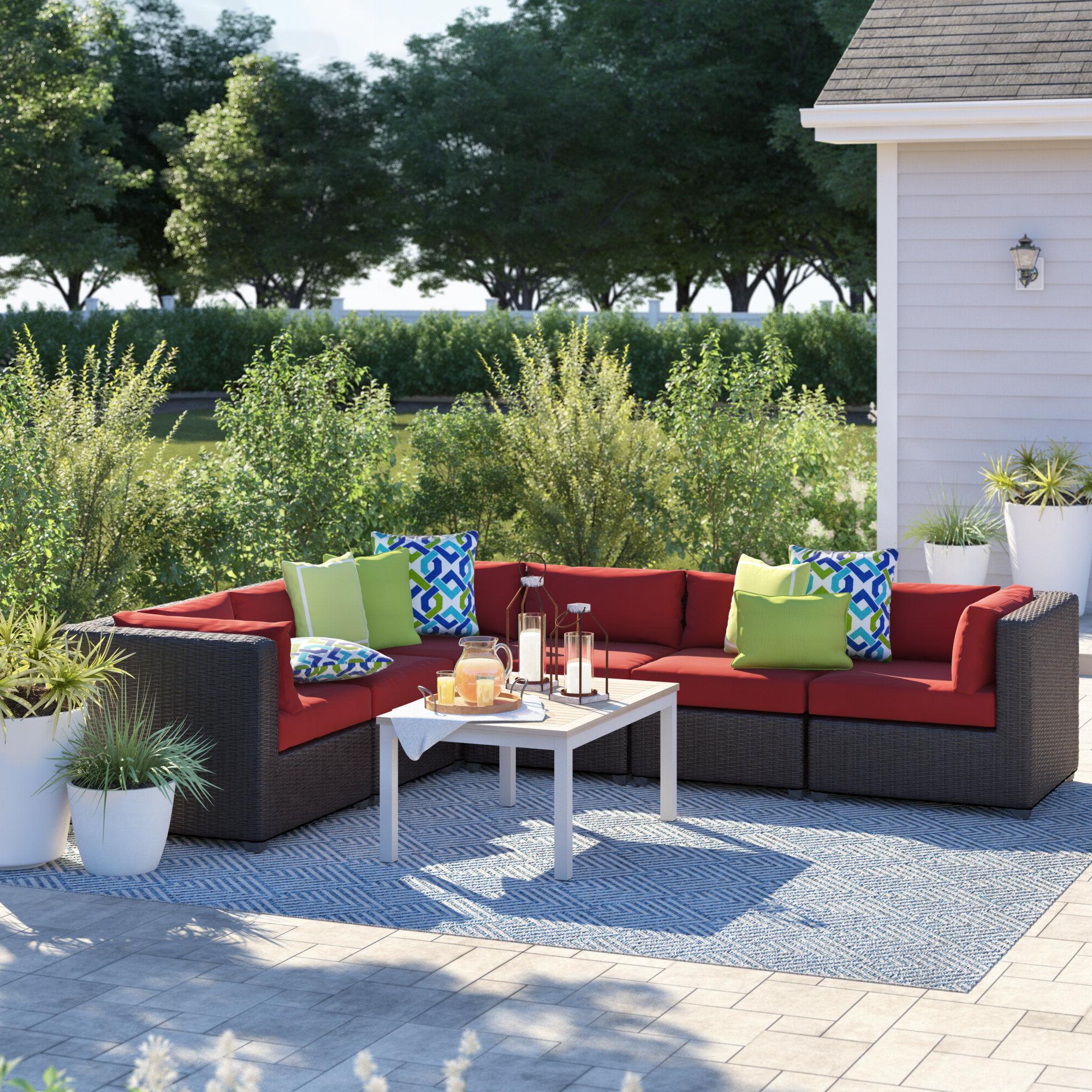 Well Liked Nolen Patio Sectionals With Cushions Inside Fairfield Patio Sectional With Cushions (View 20 of 20)