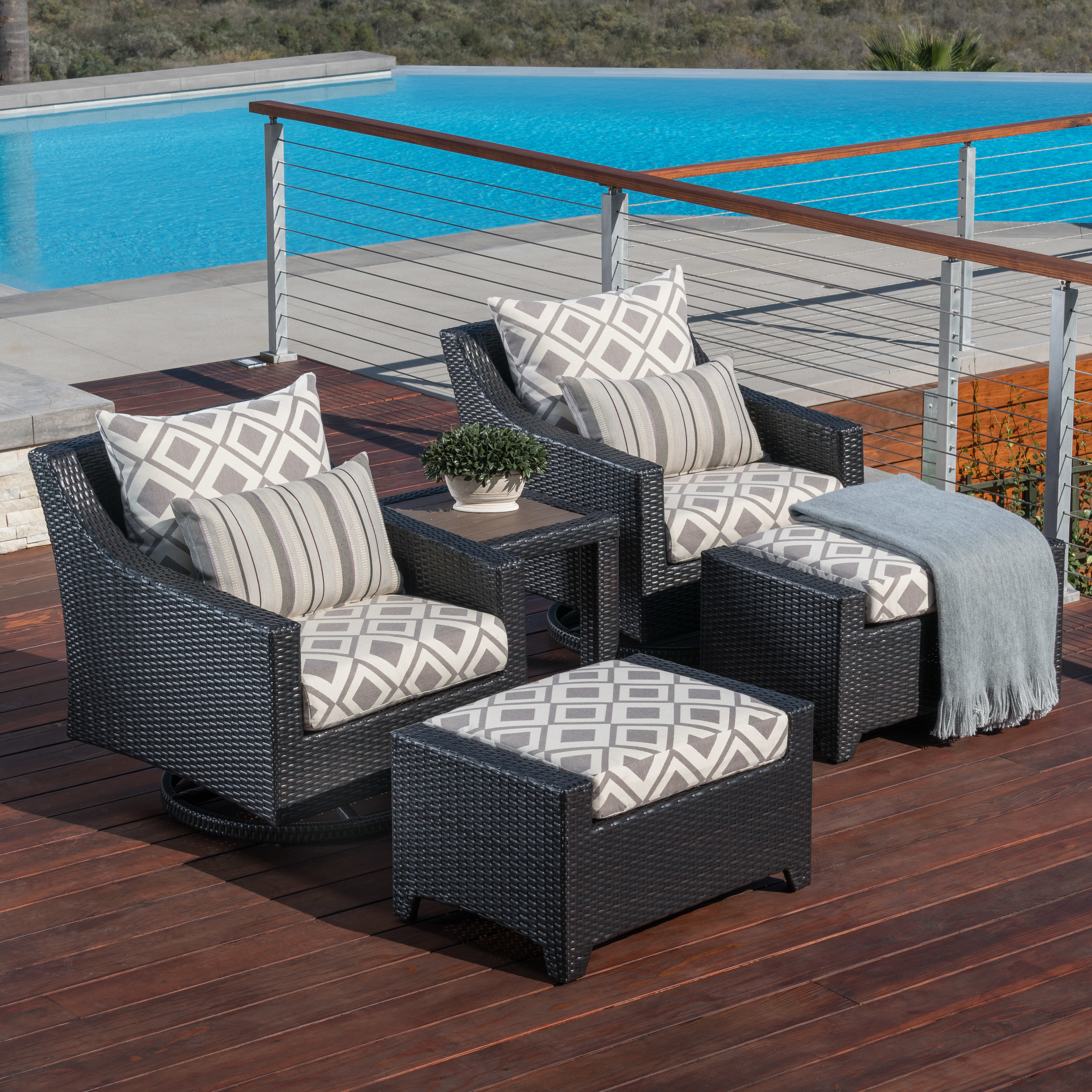 Well Liked Northridge Patio Sofas With Sunbrella Cushions For Northridge 5 Piece Rattan Sunbrella Conversation Set With Cushions (View 20 of 20)