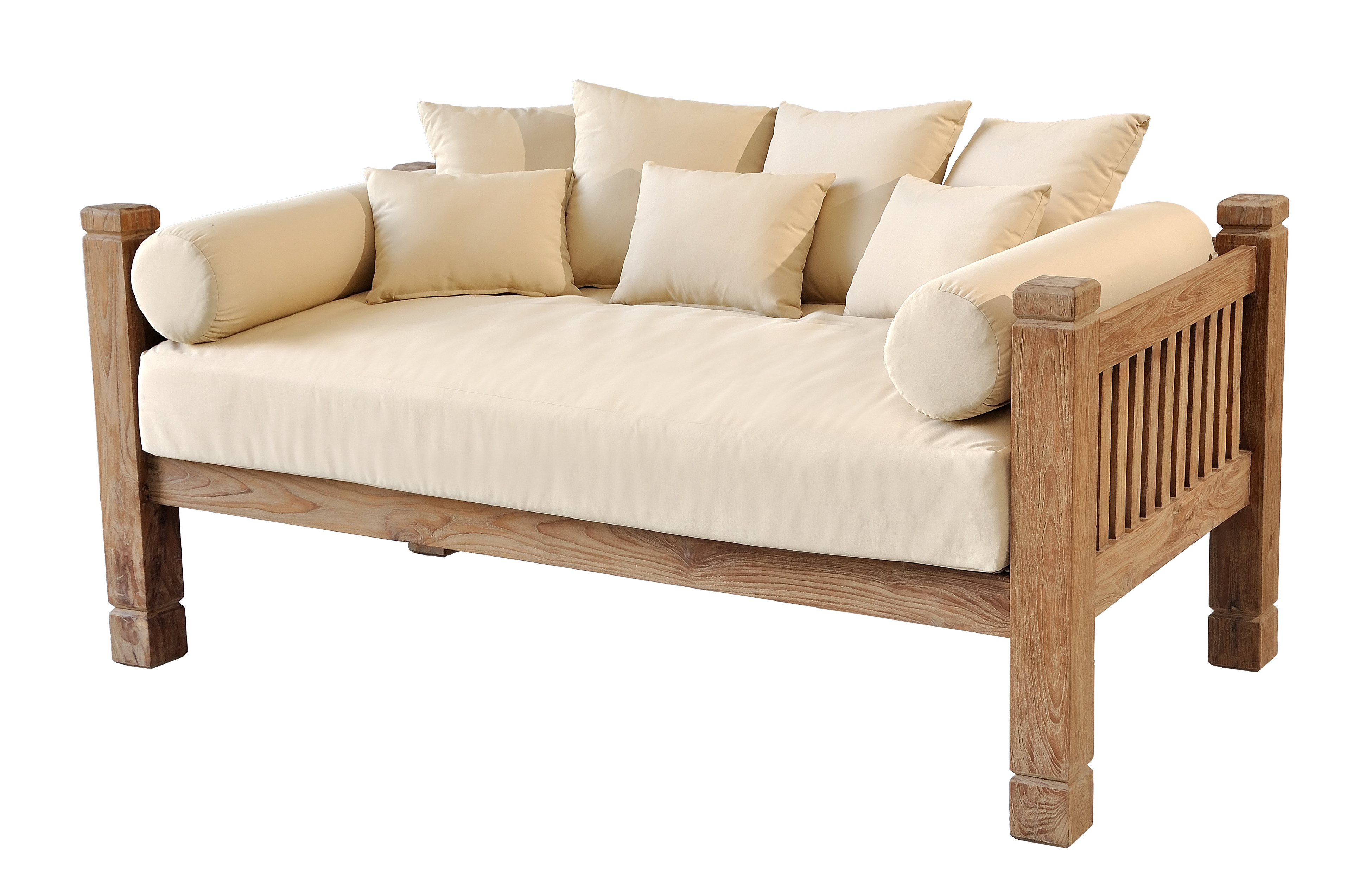 Well Liked Perine Teak Patio Daybed With Cushions Throughout Grosvenor Bamboo Patio Daybeds With Cushions (View 19 of 20)