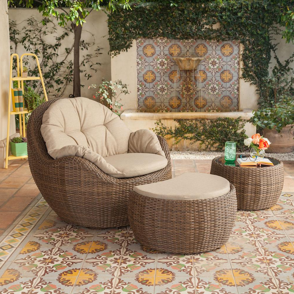 Well Liked Royal Garden Greta Ottoman 3 Piece Wicker Patio Lounge Chair With Beige  Cushions In Greta Living Patio Sectionals With Cushions (Gallery 3 of 20)
