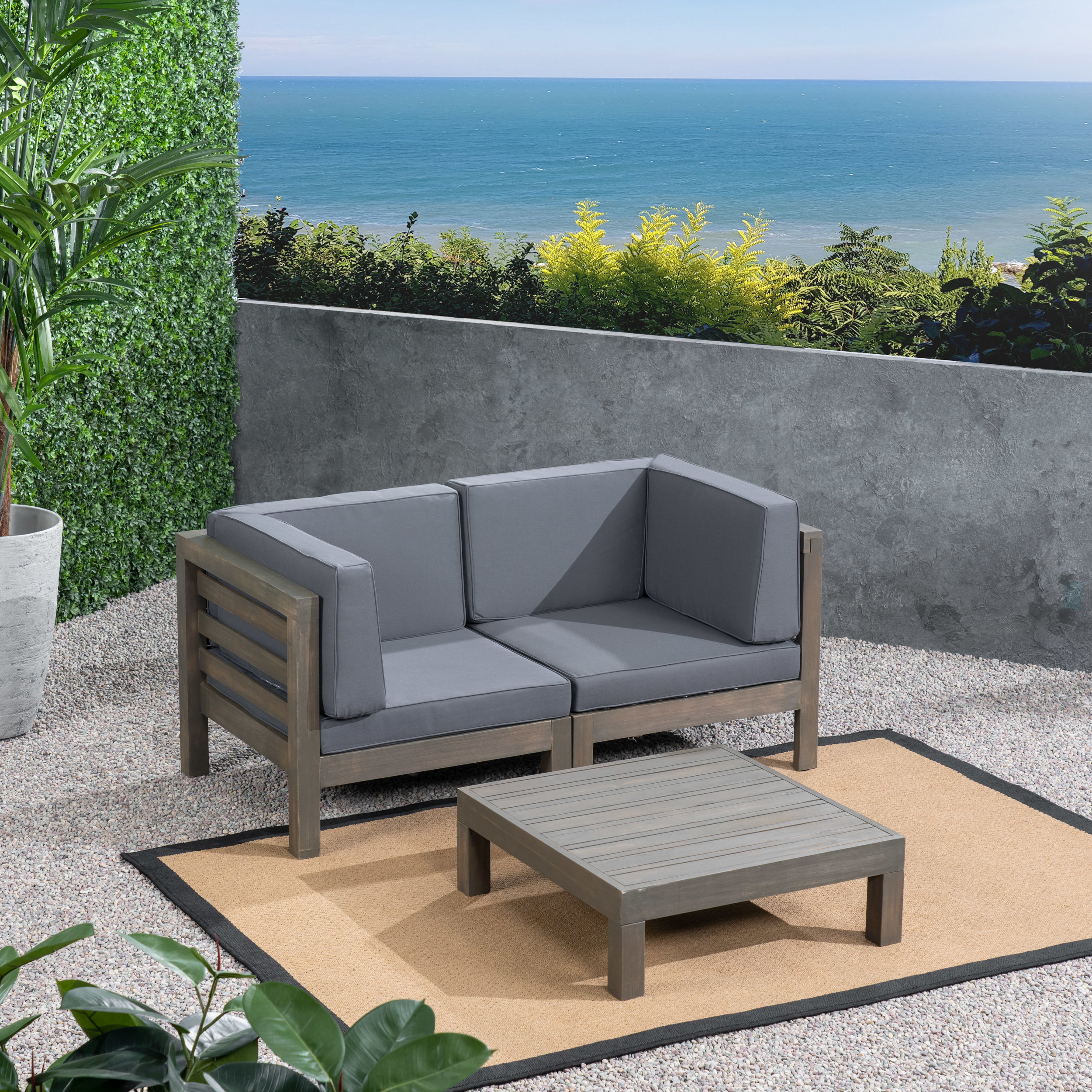 Well Liked Seaham 3 Piece Teak Sofa Seating Group With Cushions In Seaham Patio Sectionals With Cushions (View 20 of 20)