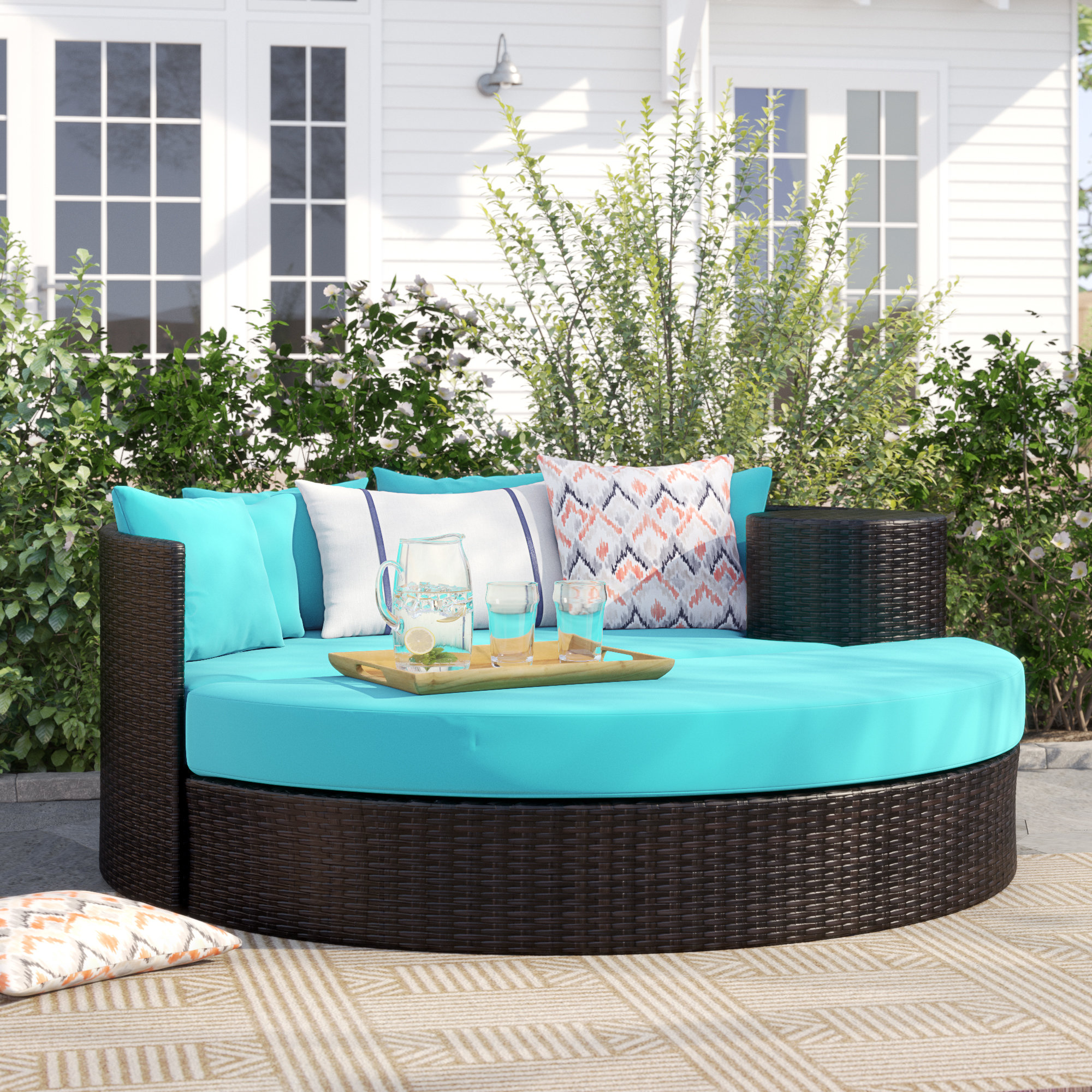 Well Liked Sol 72 Outdoor Freeport Patio Daybed With Cushion & Reviews With Leiston Round Patio Daybeds With Cushions (View 20 of 20)