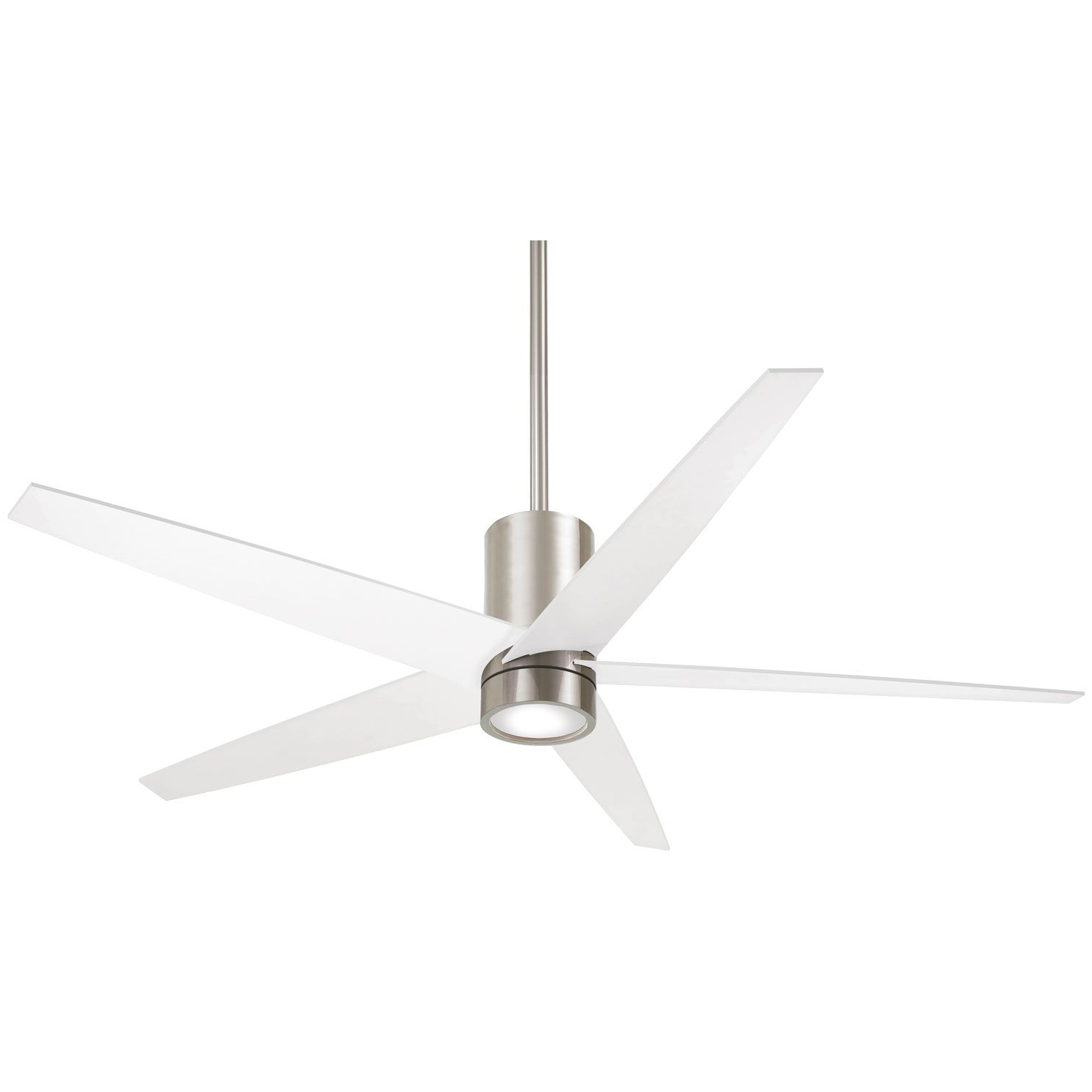 Well Liked Symbio 5 Blade Led Ceiling Fans Throughout Minka Aire Symbio Brushed Nickel And White One Light Led (View 20 of 20)